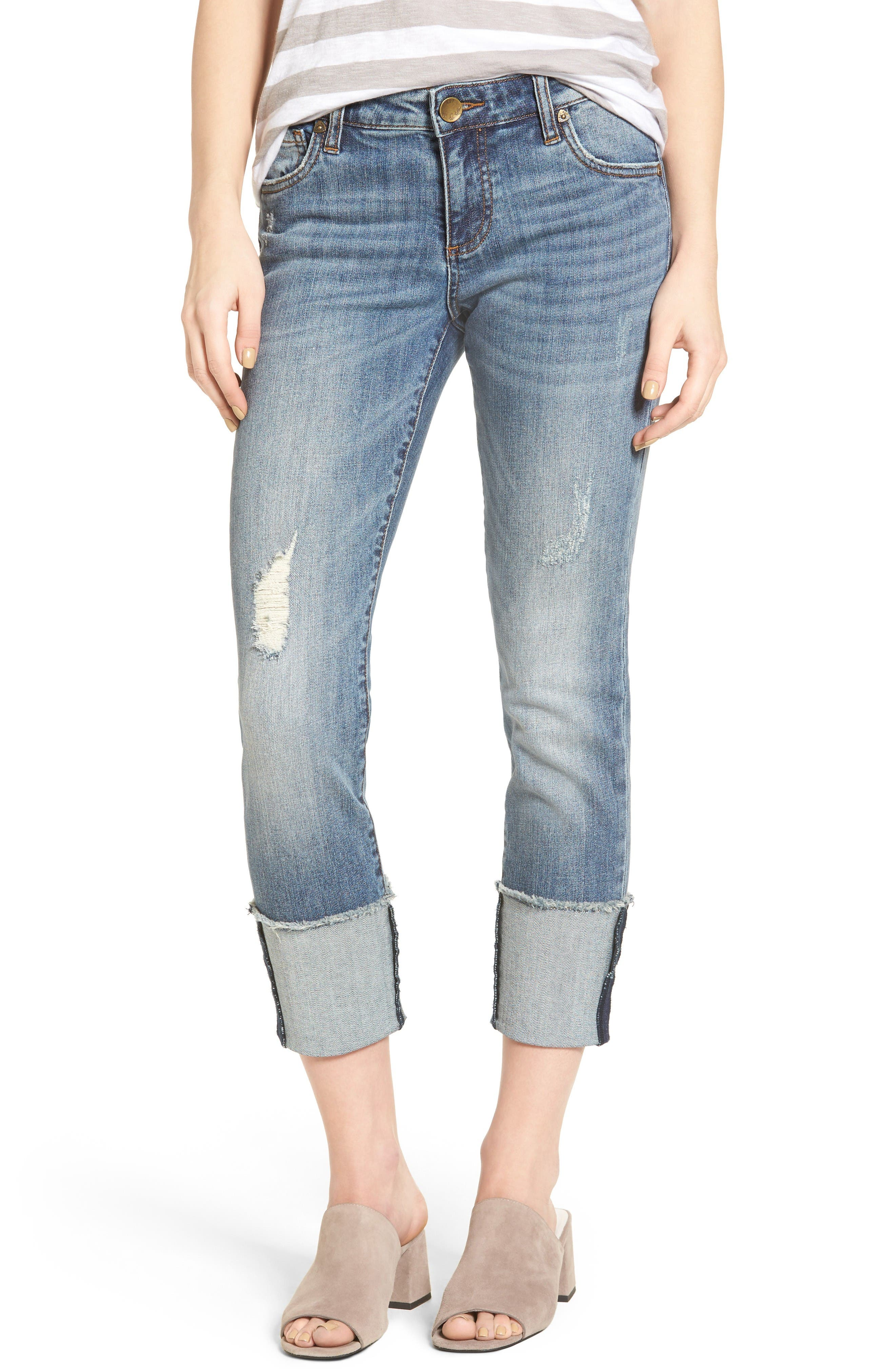 KUT from the Kloth Cameron Roll Cuff Straight Leg Jeans (Gain)