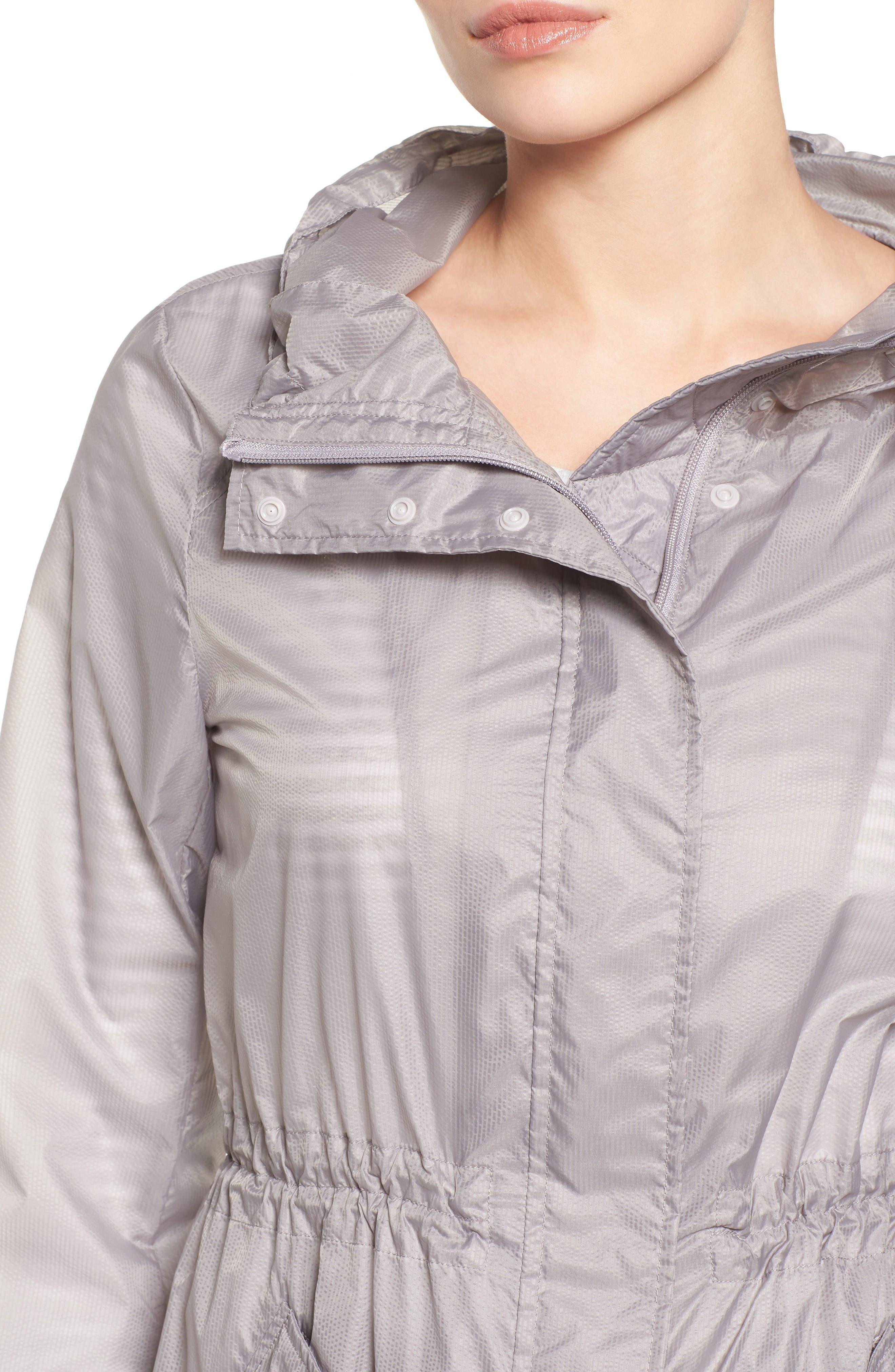 Teri Translucent Rain Jacket,                             Alternate thumbnail 4, color,                             Fog