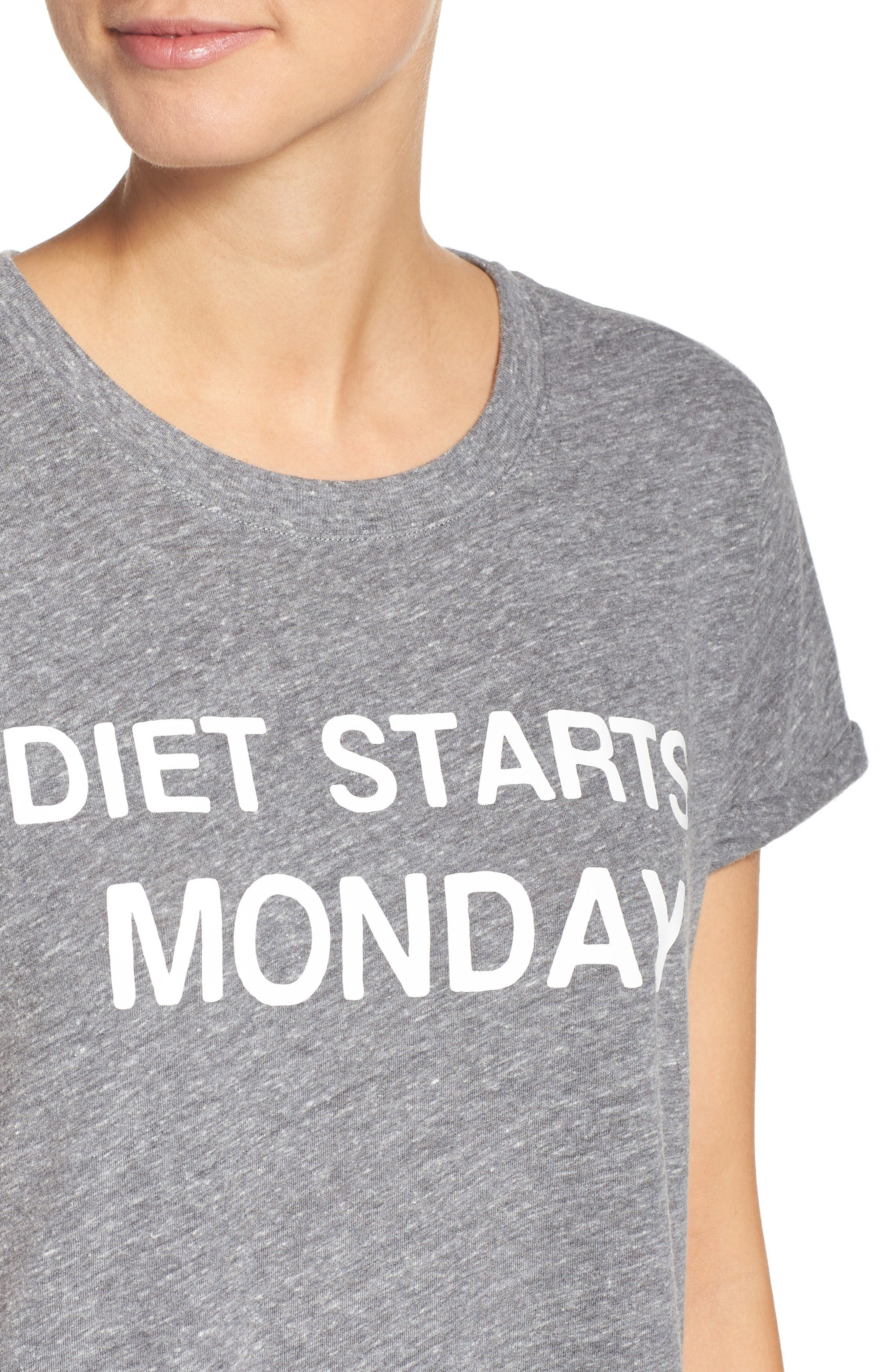 Diet Starts Monday Tee,                             Alternate thumbnail 4, color,                             Grey
