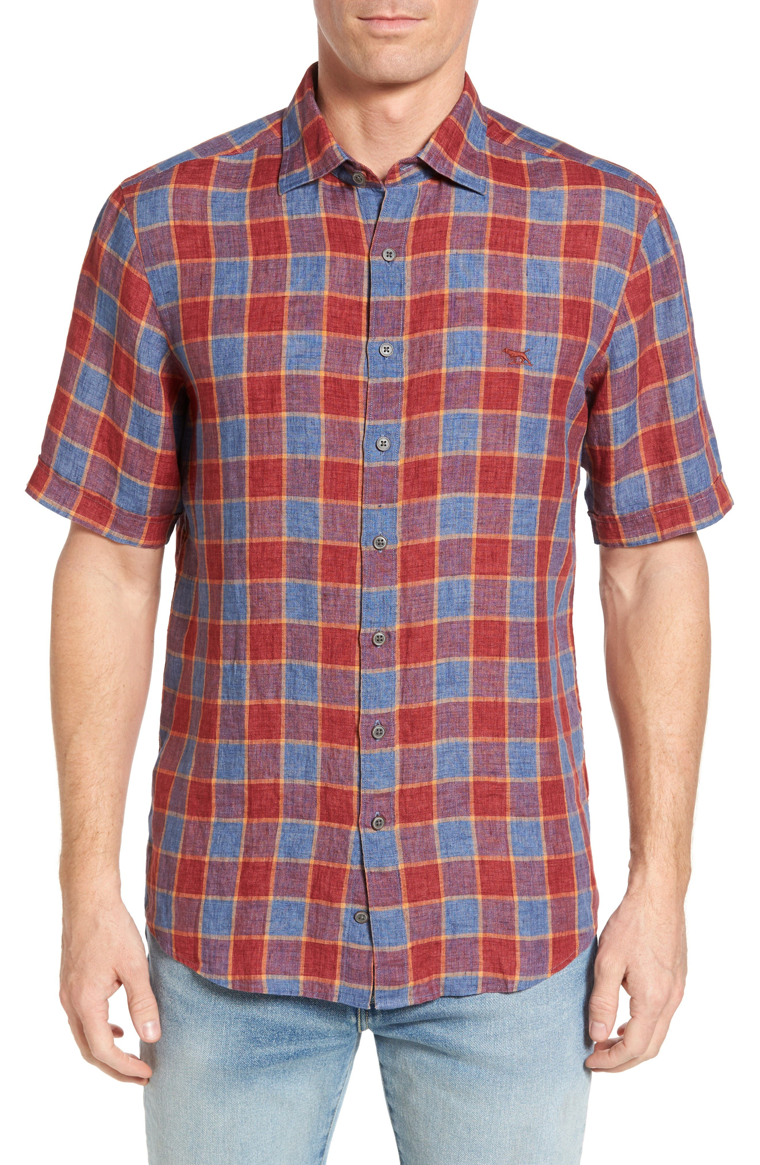 Mason Avenue Linen Sport Shirt,                         Main,                         color, Red Ochre
