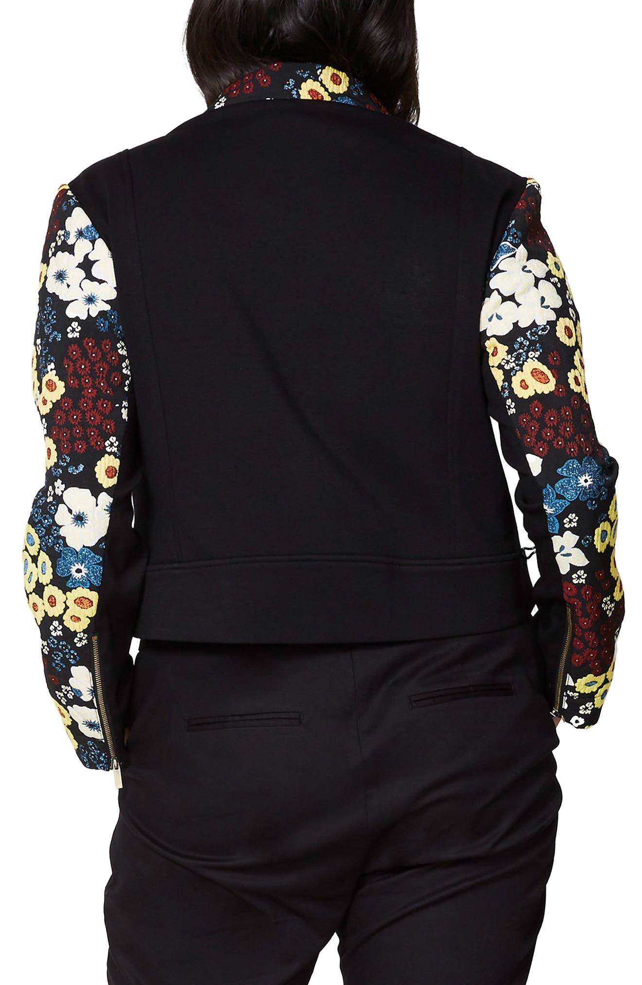 Floral Moto Jacket,                             Alternate thumbnail 2, color,                             Black Combo