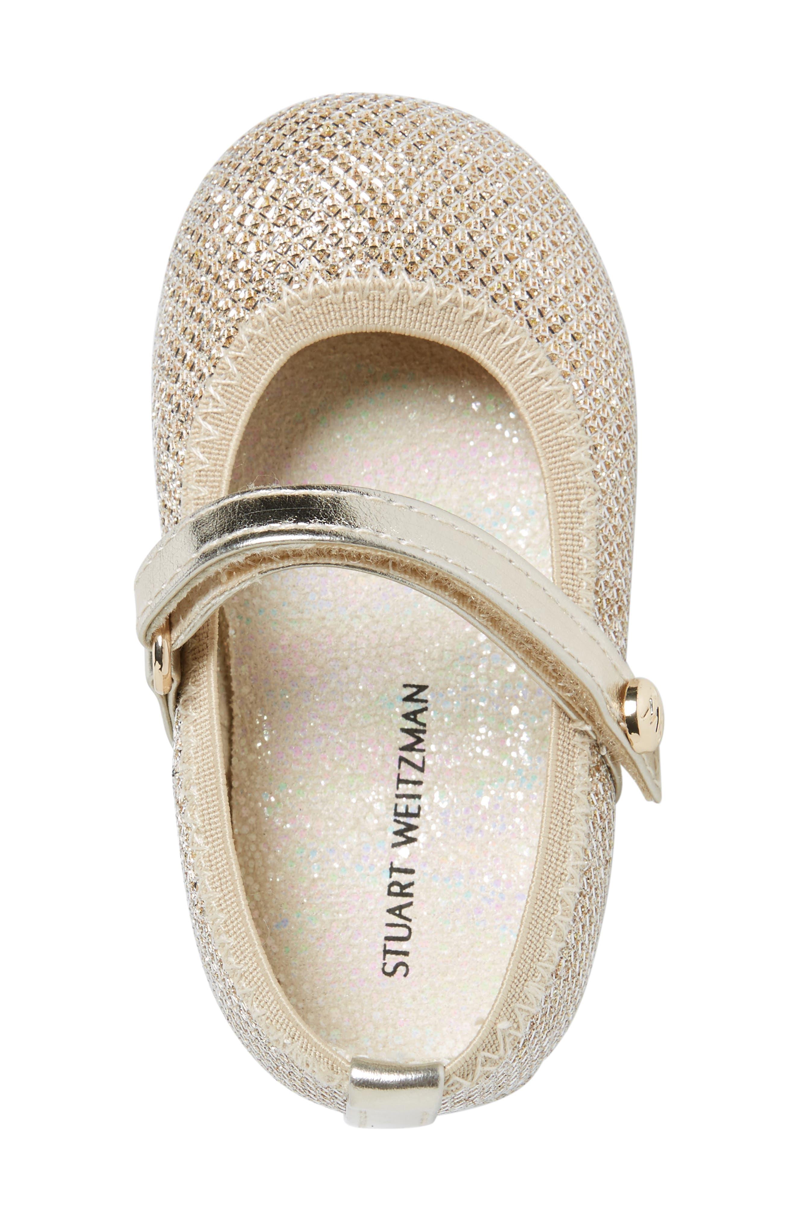 Baby Dancer Crib Shoe,                             Alternate thumbnail 3, color,                             Platinum Gold