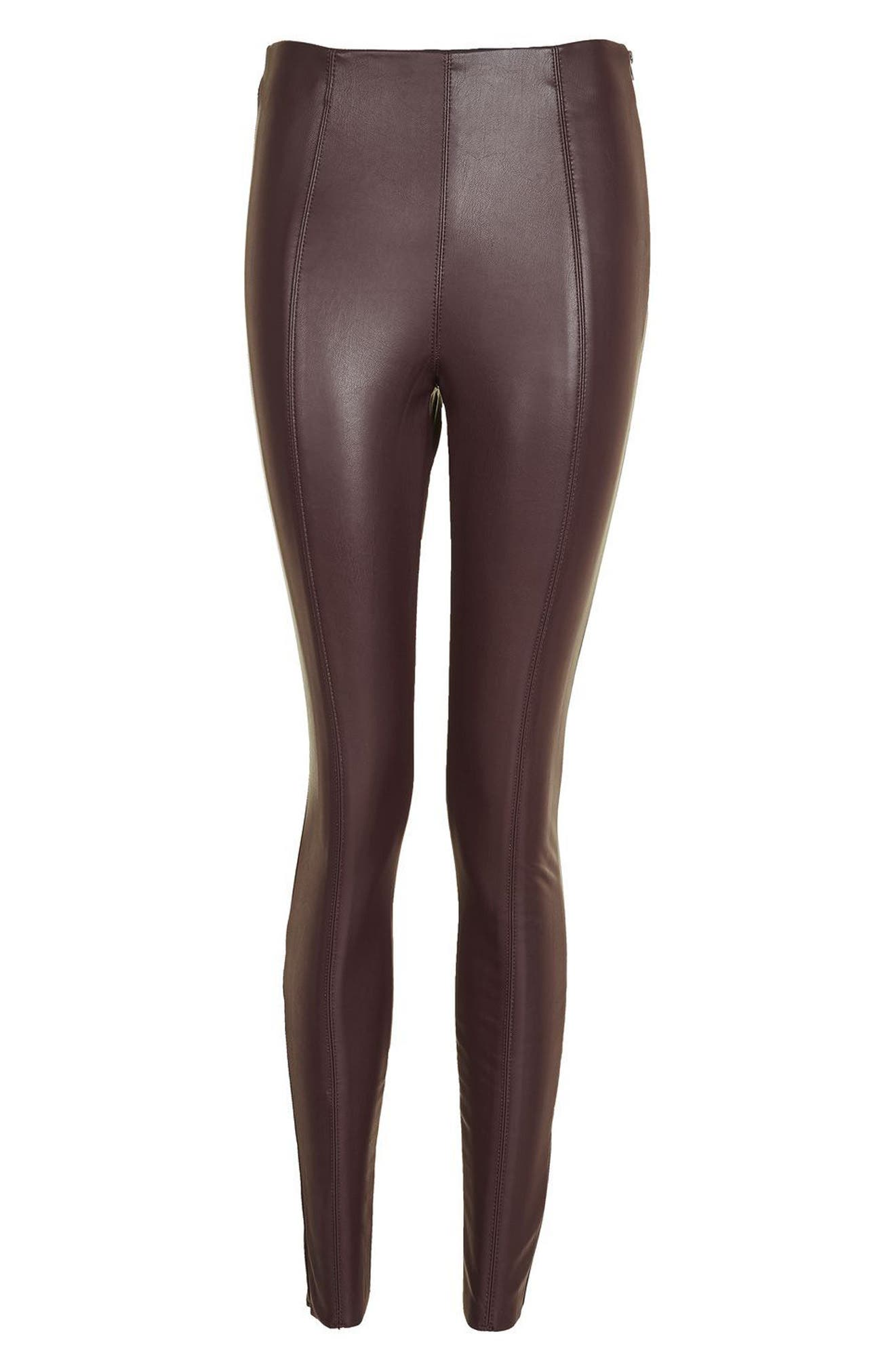 Percy Faux Leather Skinny Pants,                             Alternate thumbnail 4, color,                             Burgundy
