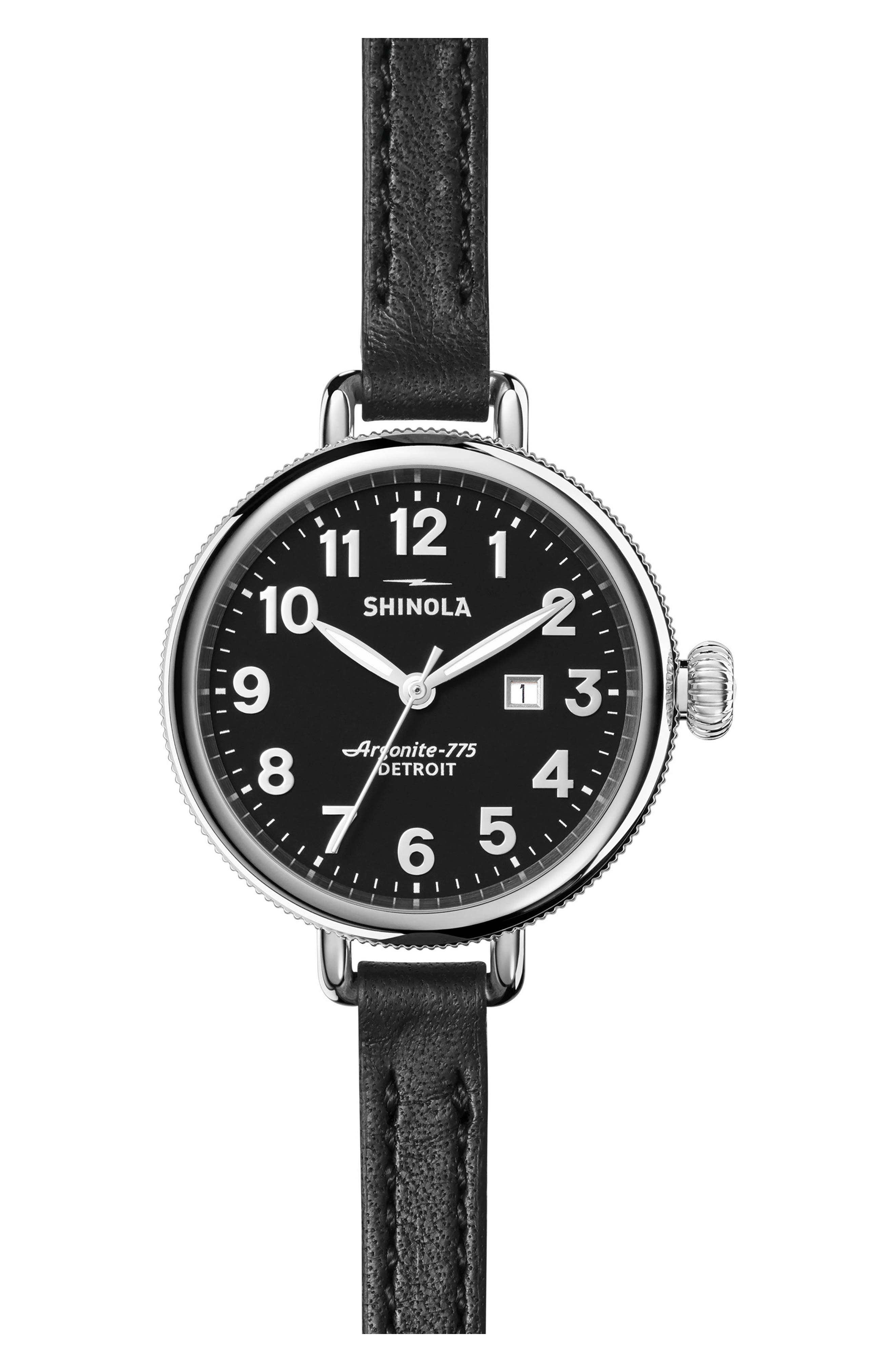 The Birdy Leather Strap Watch, 34mm,                         Main,                         color, Black