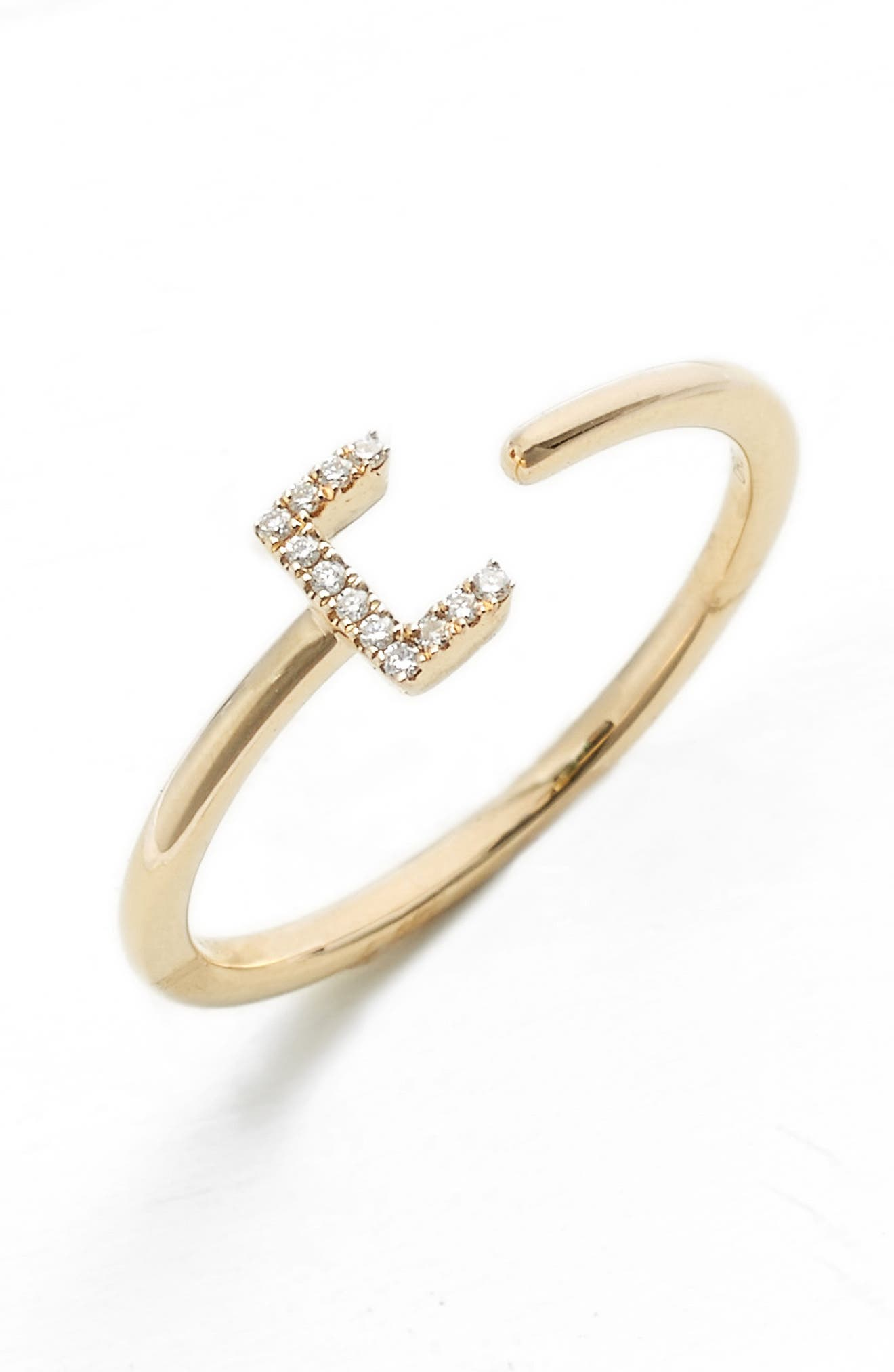 Single Initial Open Ring,                         Main,                         color, Yellow Gold - C