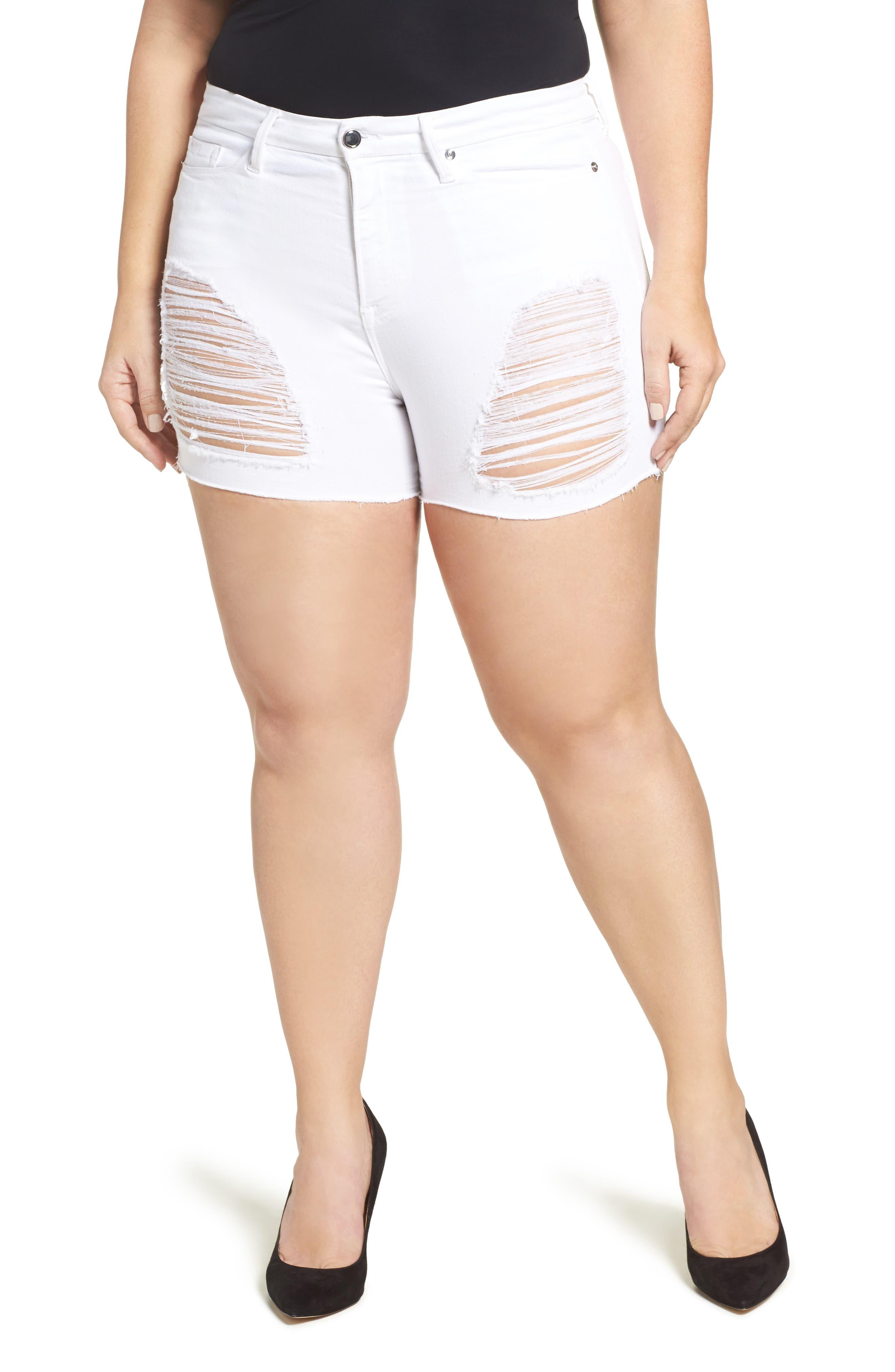 Destroyed Cutoff Denim Shorts,                             Alternate thumbnail 12, color,                             White 004