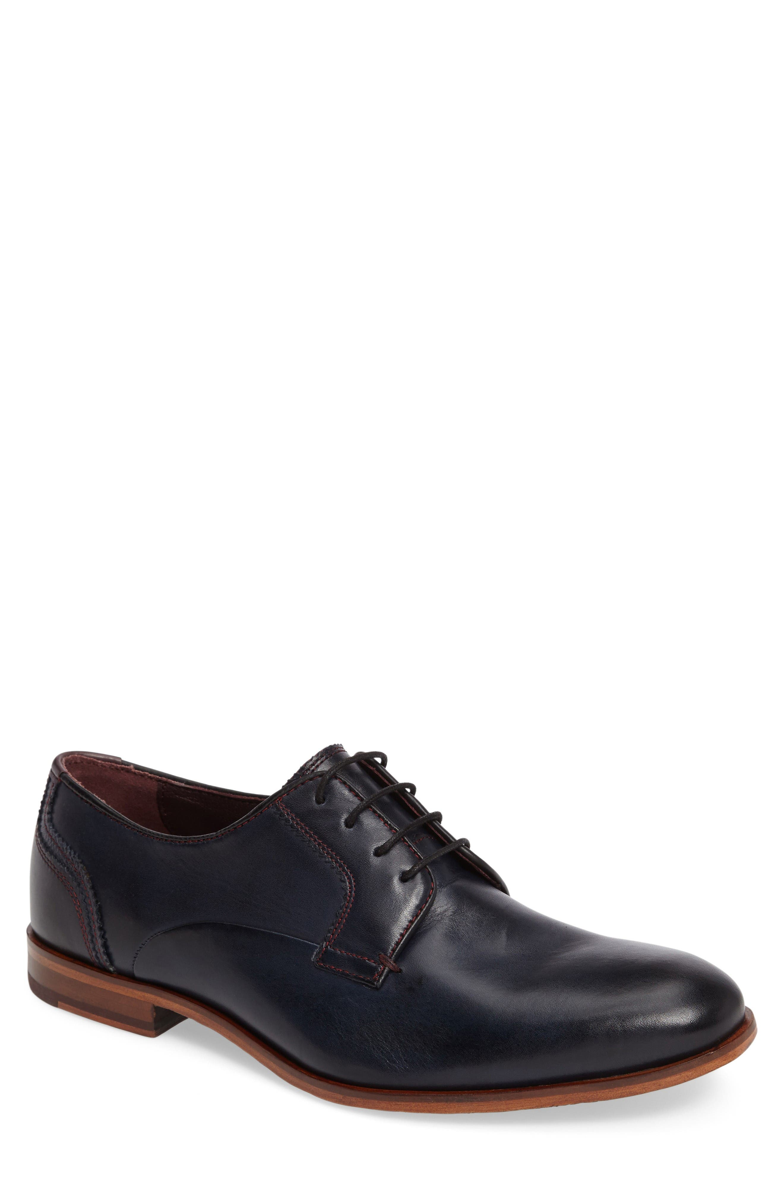 Iront Plain Toe Derby,                             Main thumbnail 1, color,                             Dark Blue Leather
