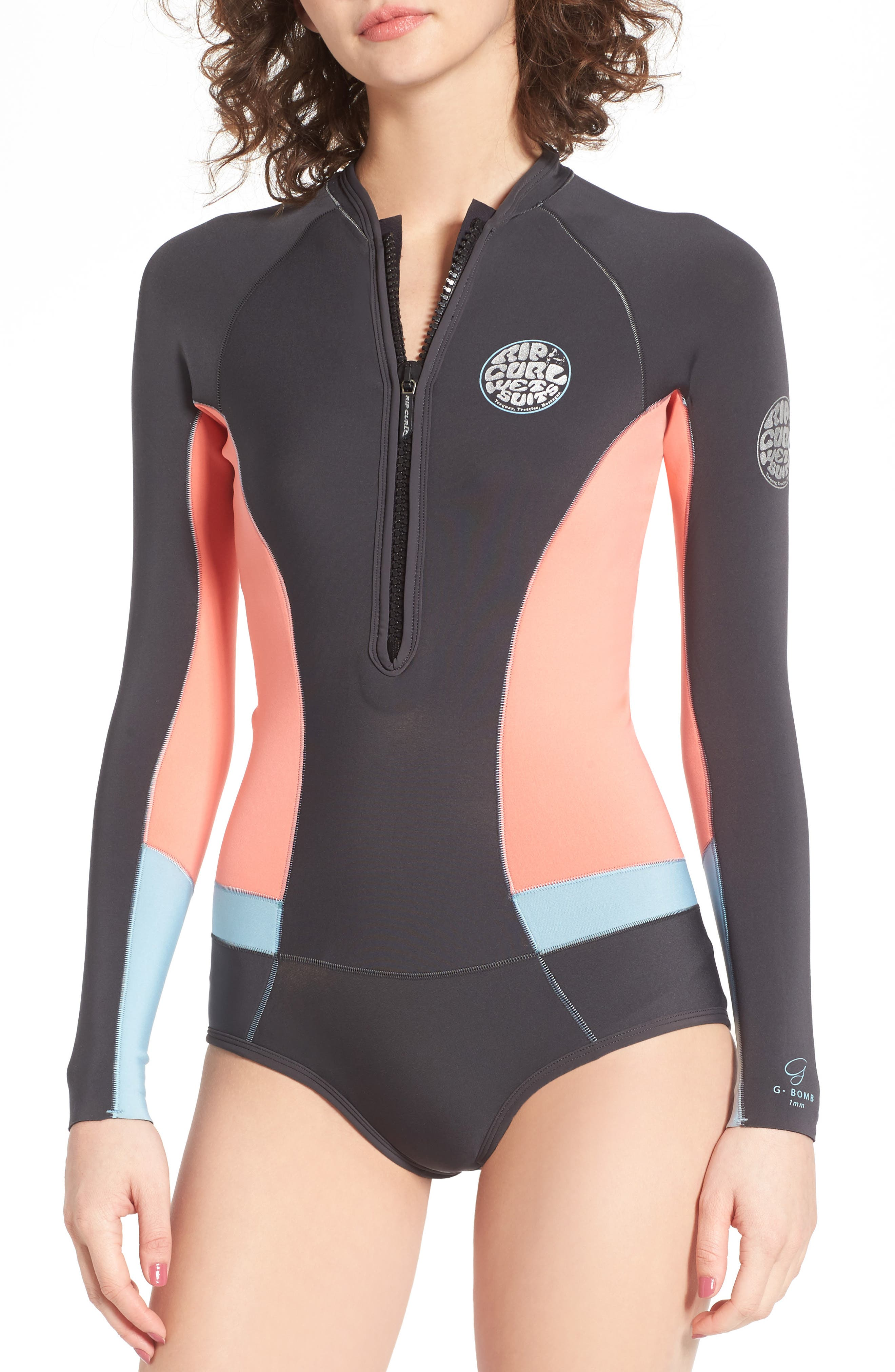 G-Bomb Long Sleeve Wetsuit,                             Main thumbnail 1, color,                             Coral