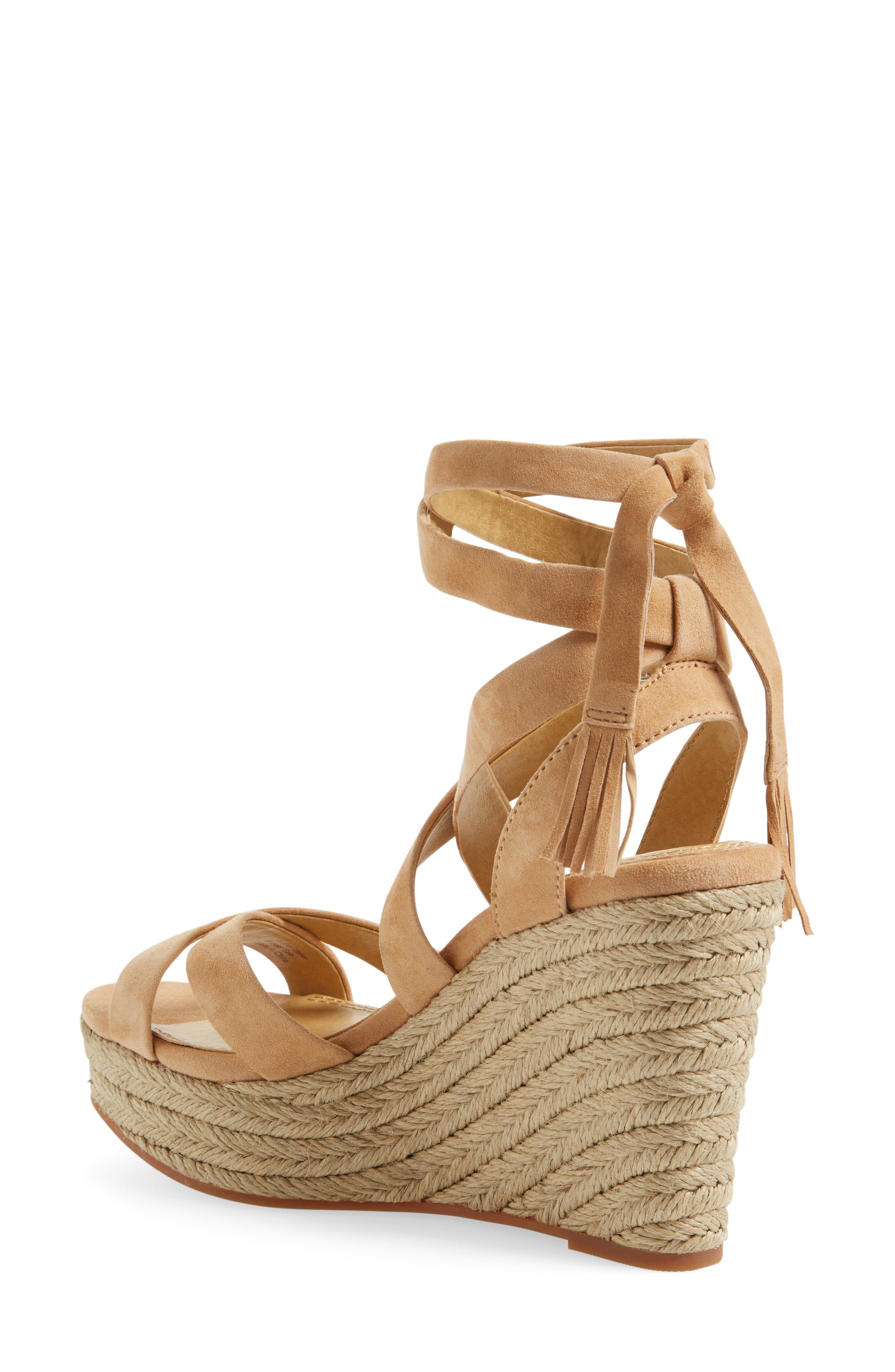 Janice Espadrille Wedge Sandal,                             Alternate thumbnail 2, color,                             Nude Suede