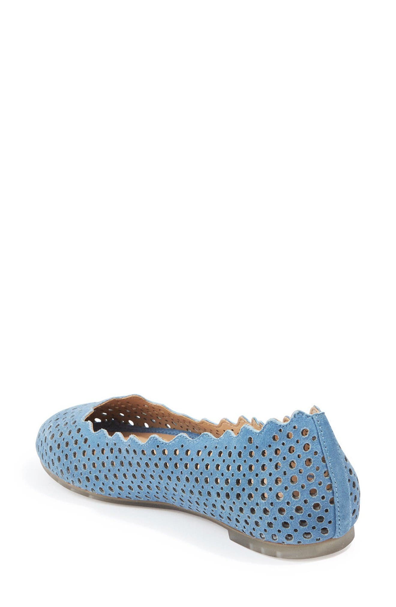 Carlee Scalloped Flat,                             Alternate thumbnail 2, color,                             Sky Blue Suede