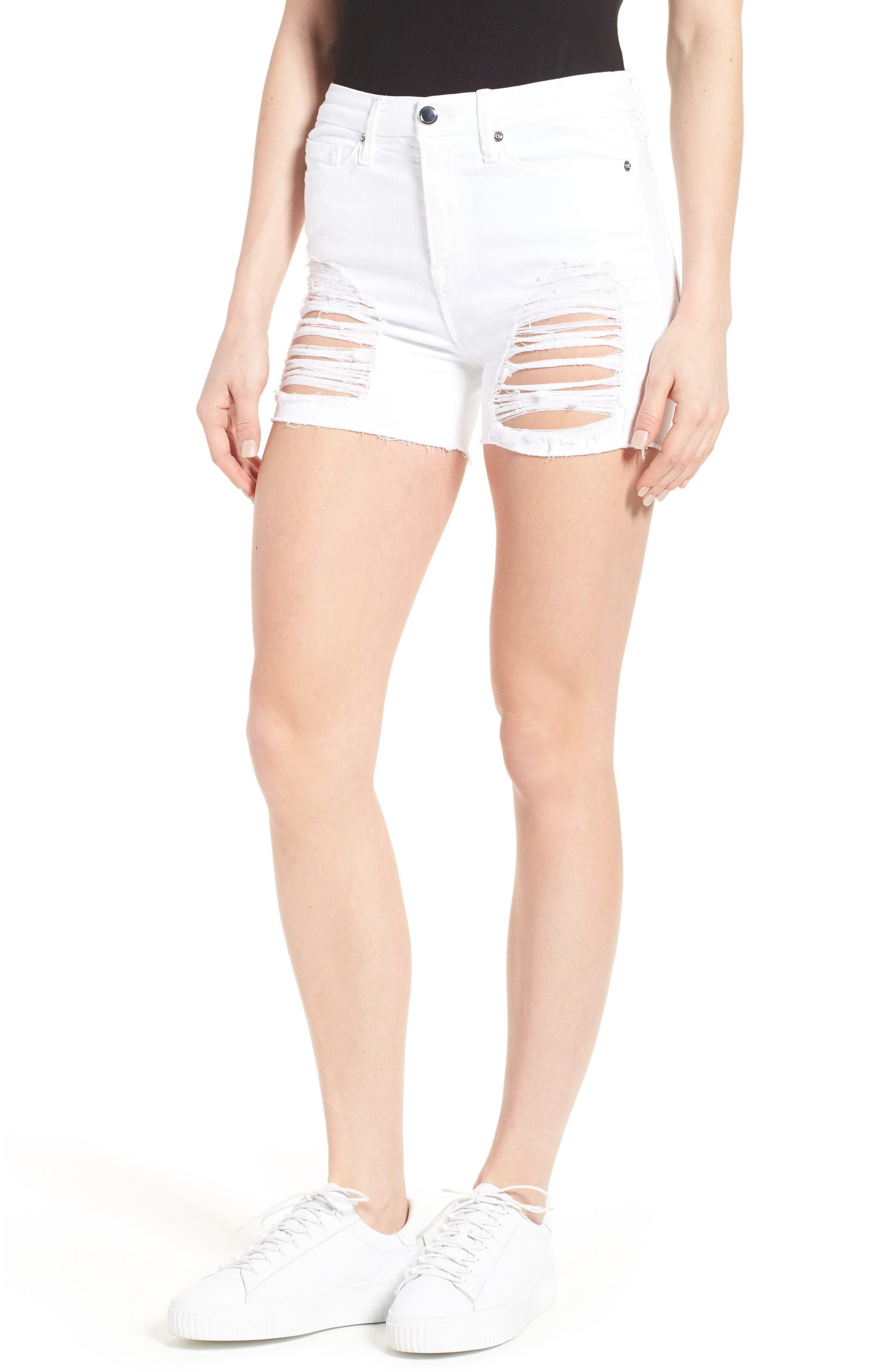 Destroyed Cutoff Denim Shorts,                             Main thumbnail 1, color,                             White 004