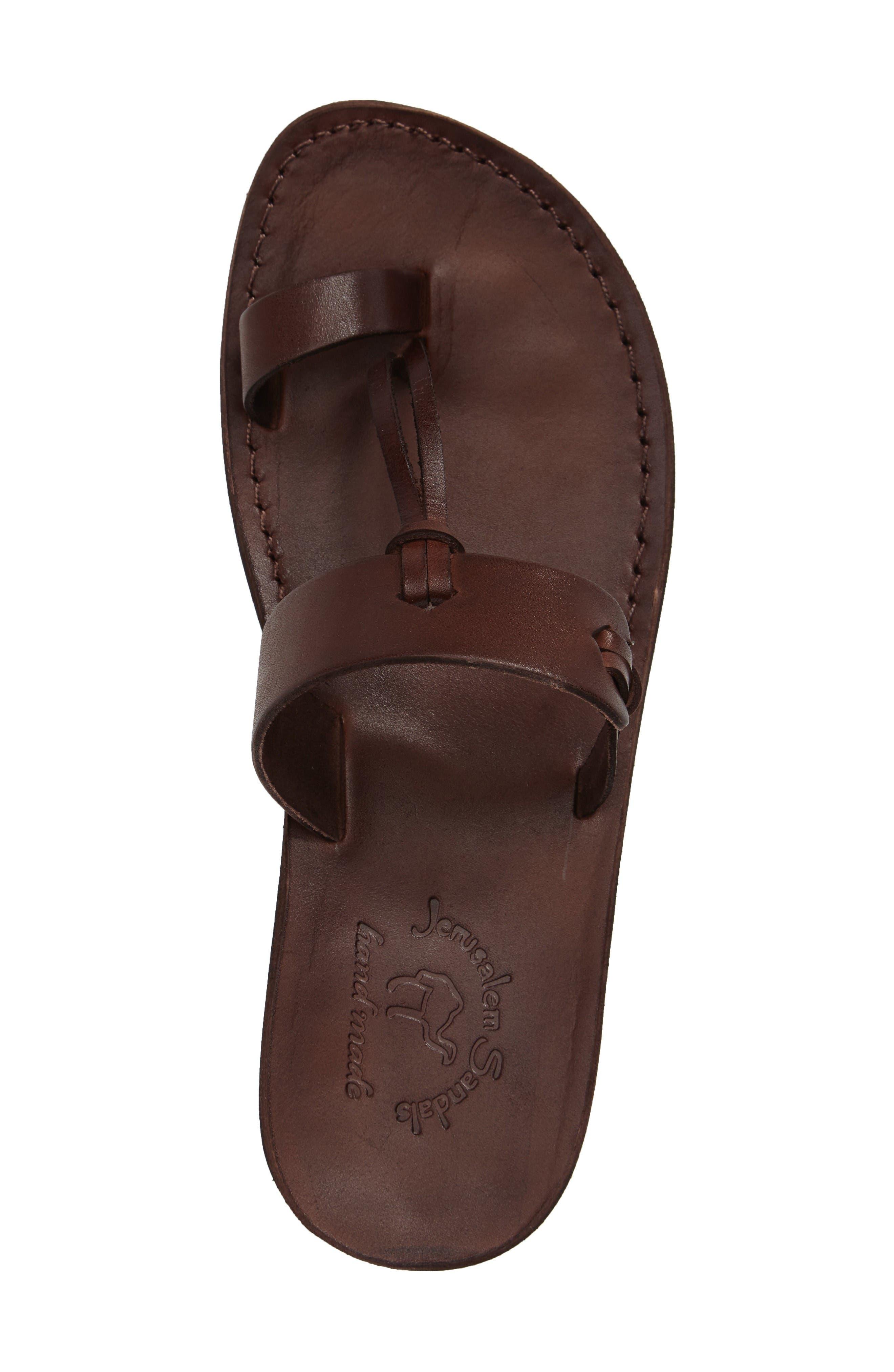 David Toe-Loop Sandal,                             Alternate thumbnail 3, color,                             Brown Leather