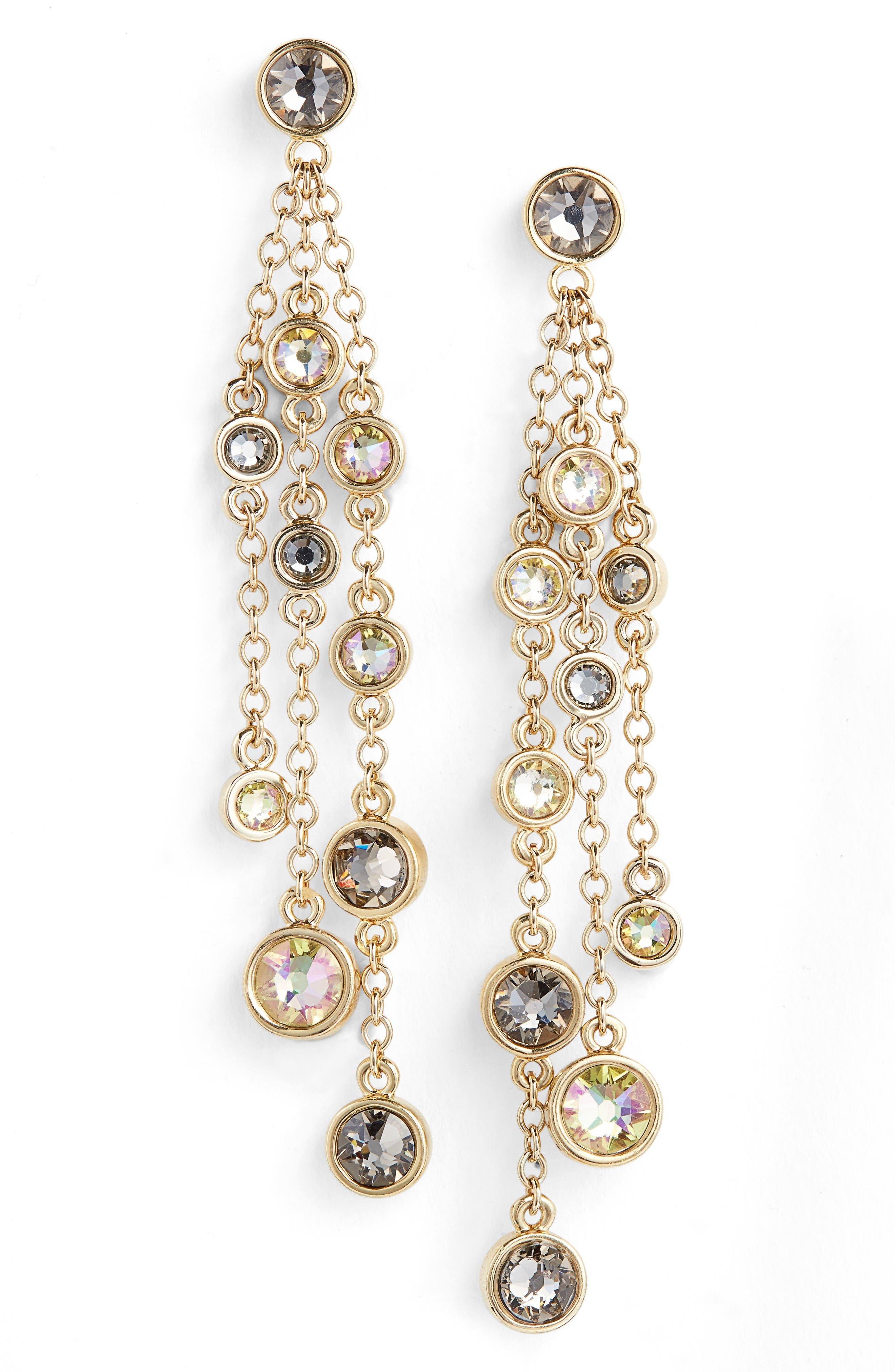 Swarovski Crystal Drop Earrings,                         Main,                         color, Light Gold