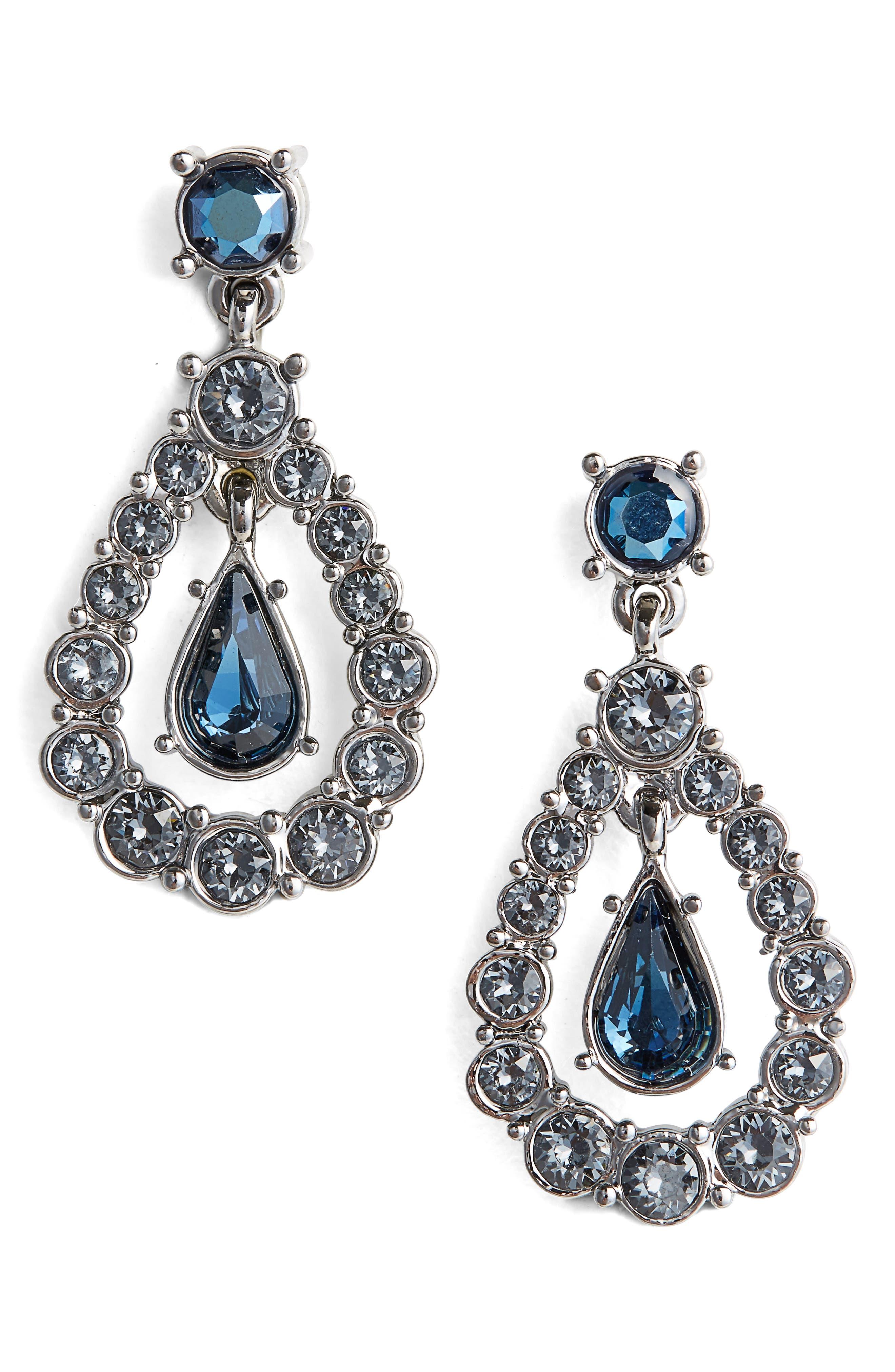 Swarovski Crystal Drop Earrings,                             Main thumbnail 1, color,                             Drk Ruth/Csn/Mont/Crys Met Blu