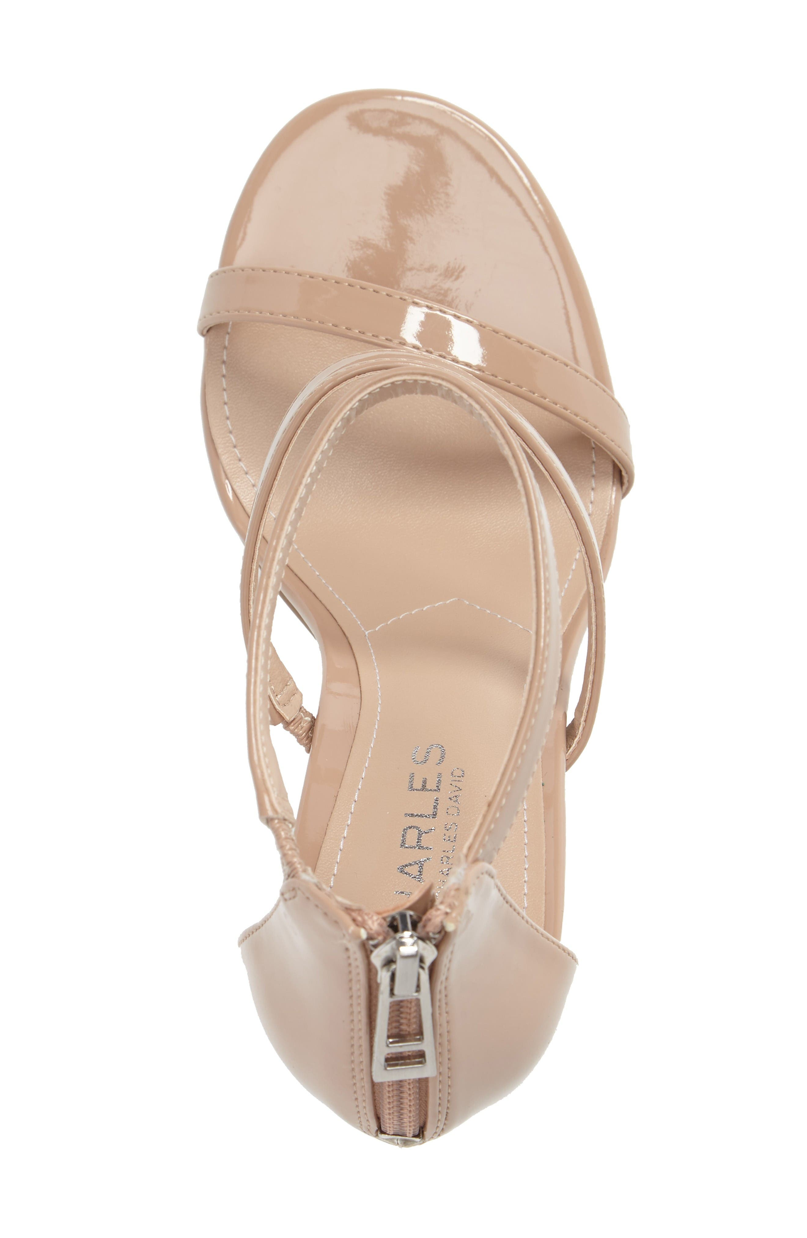 Ria Strappy Sandal,                             Alternate thumbnail 3, color,                             Nude Patent Leather