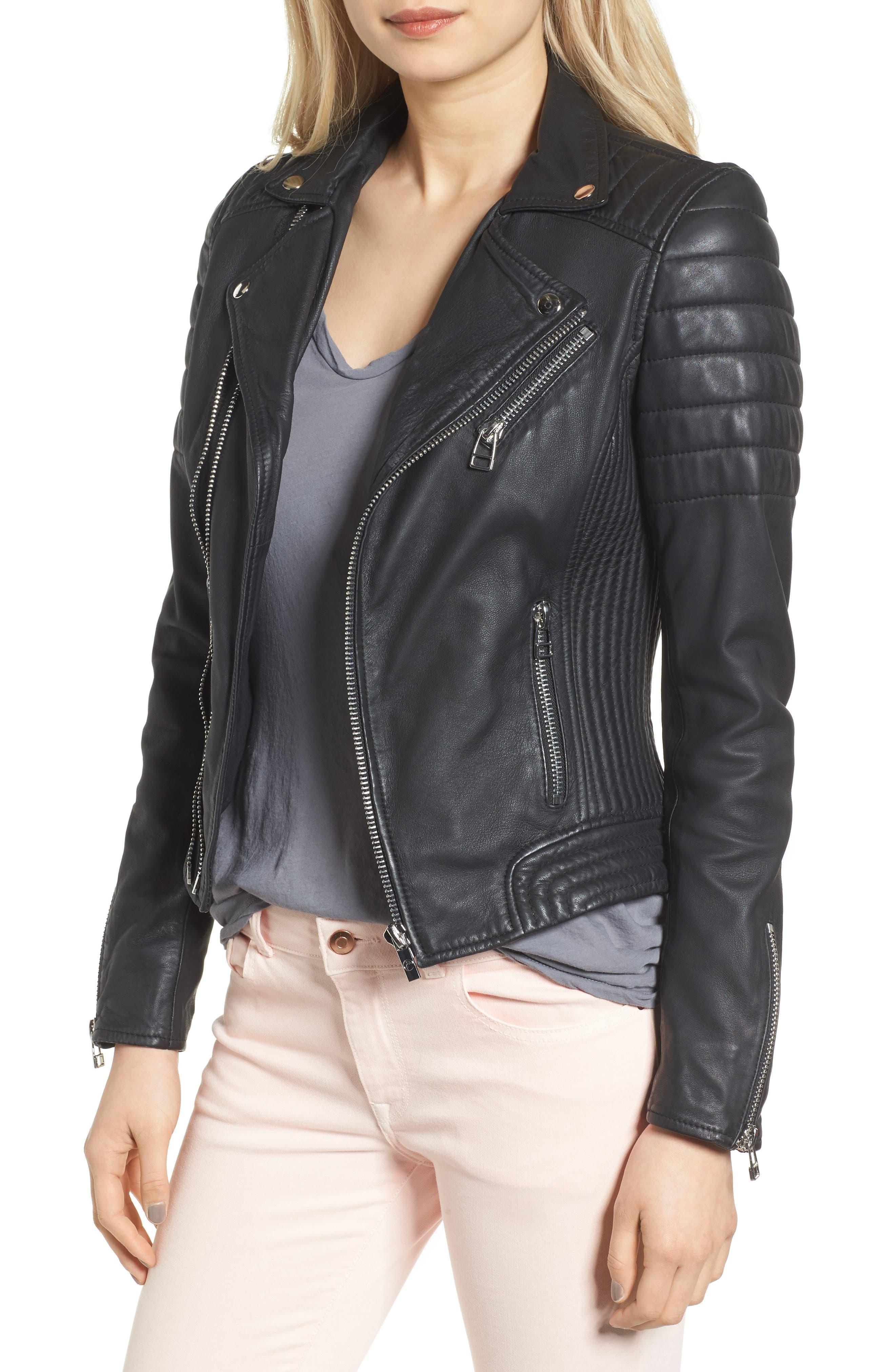 Dual Zip Leather Biker Jacket,                         Main,                         color, Black