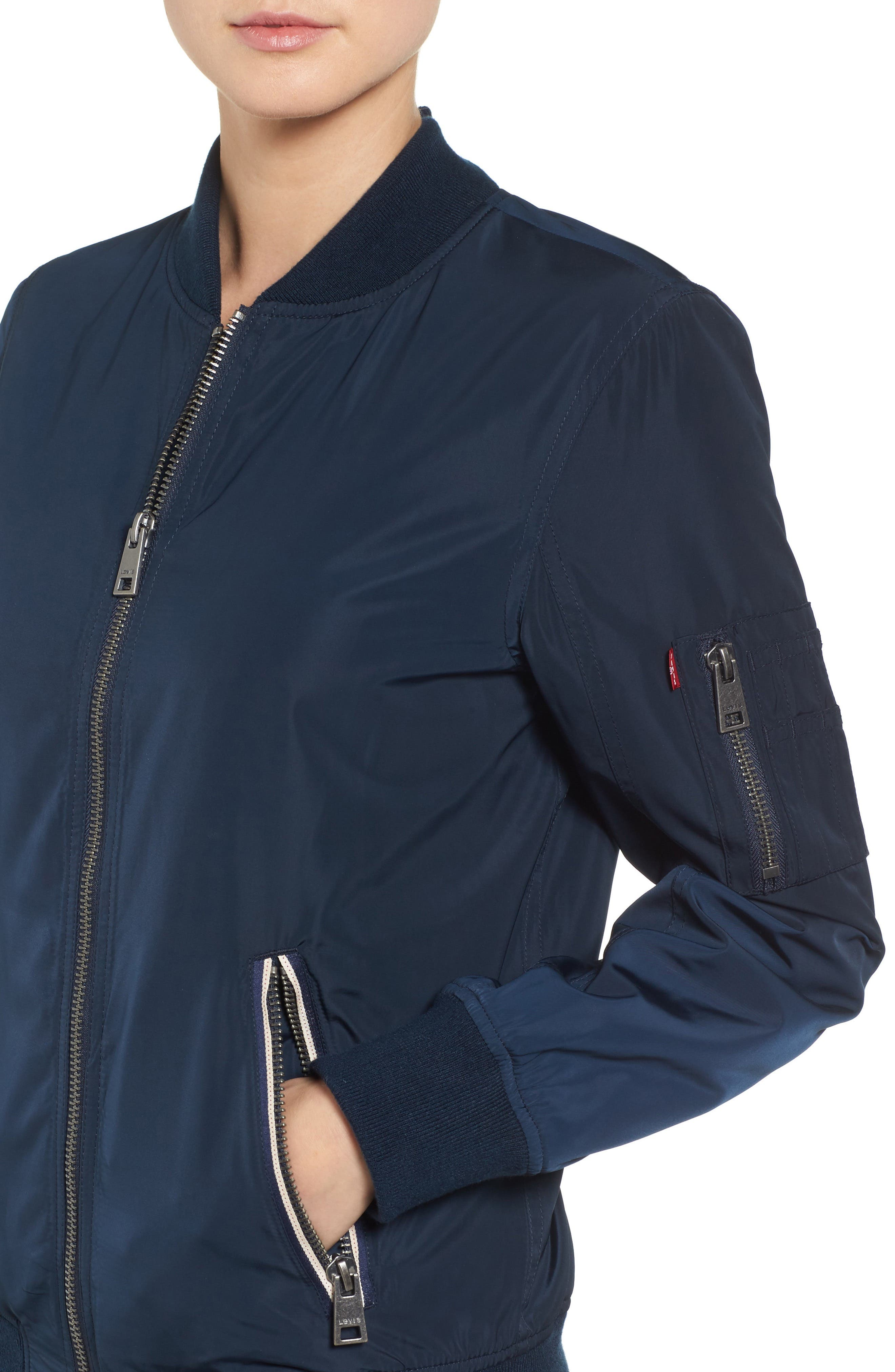 Levi's MA-1 Satin Bomber Jacket,                             Alternate thumbnail 4, color,                             Navy