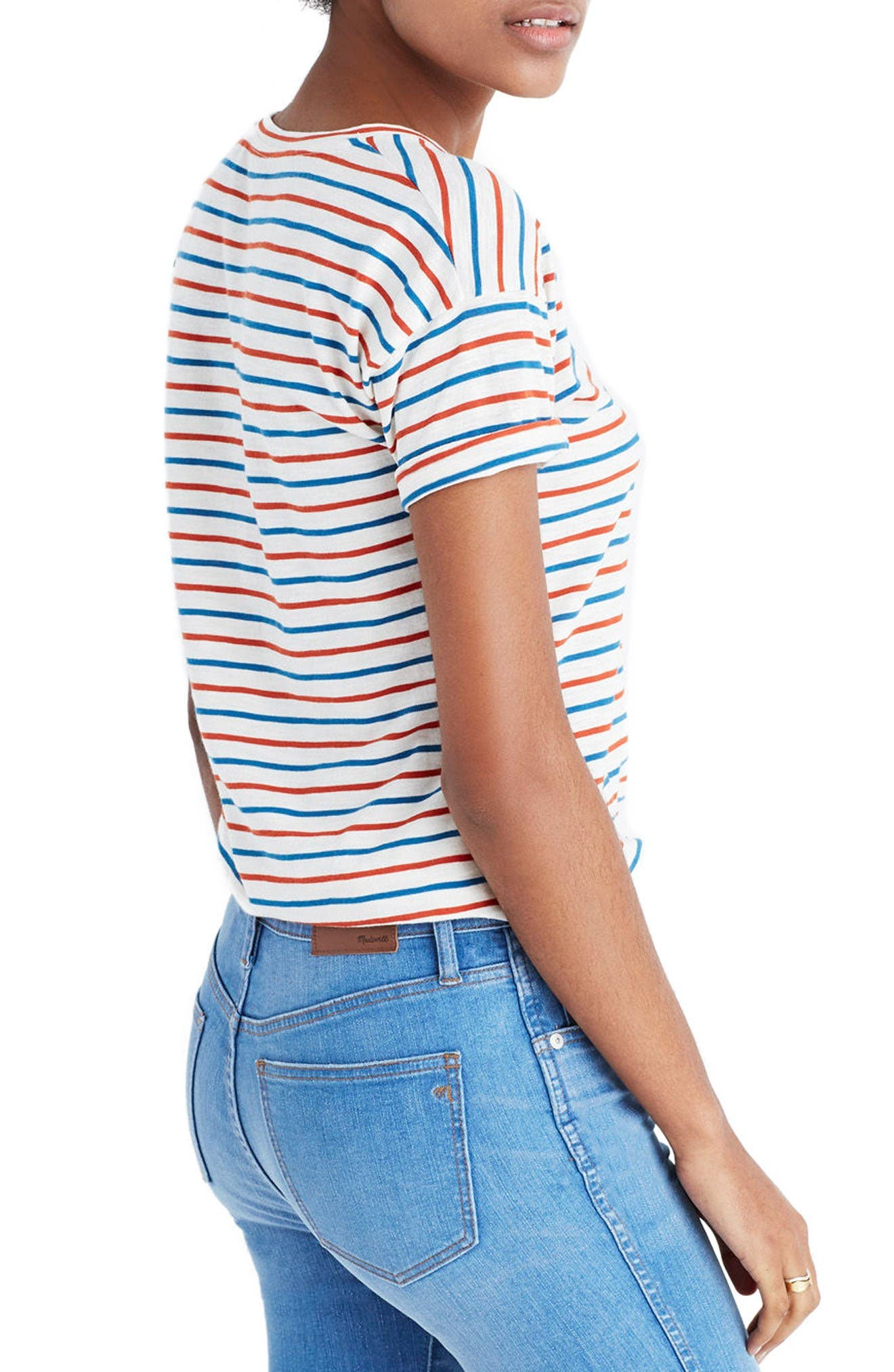 Whisper Raphael Stripe Tee,                             Alternate thumbnail 2, color,                             Bright Ivory