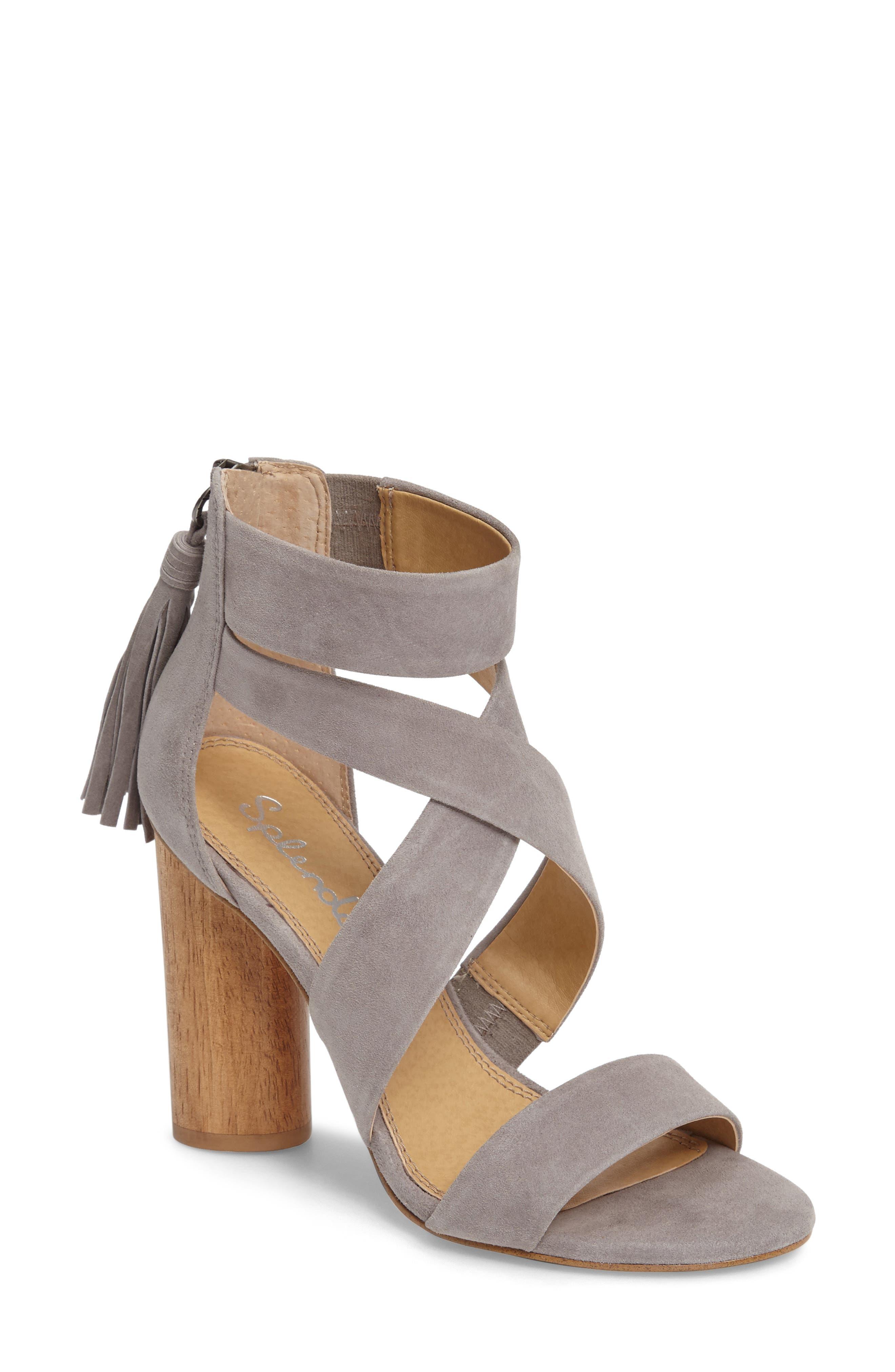 Jara Statement Heel Sandal,                             Main thumbnail 1, color,                             Light Grey Suede