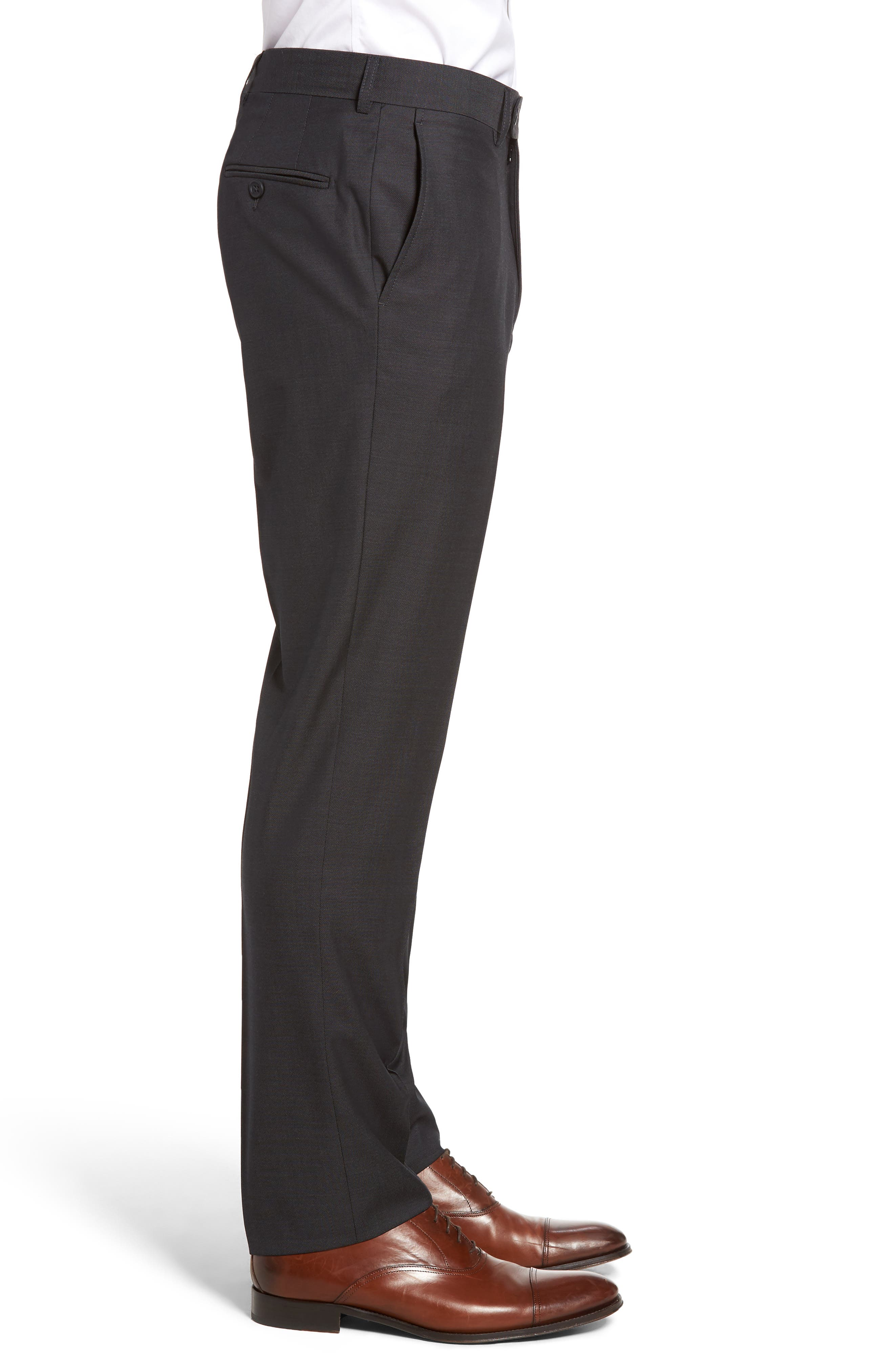 Pin Dot Wool Trousers,                             Alternate thumbnail 3, color,                             Medium Grey