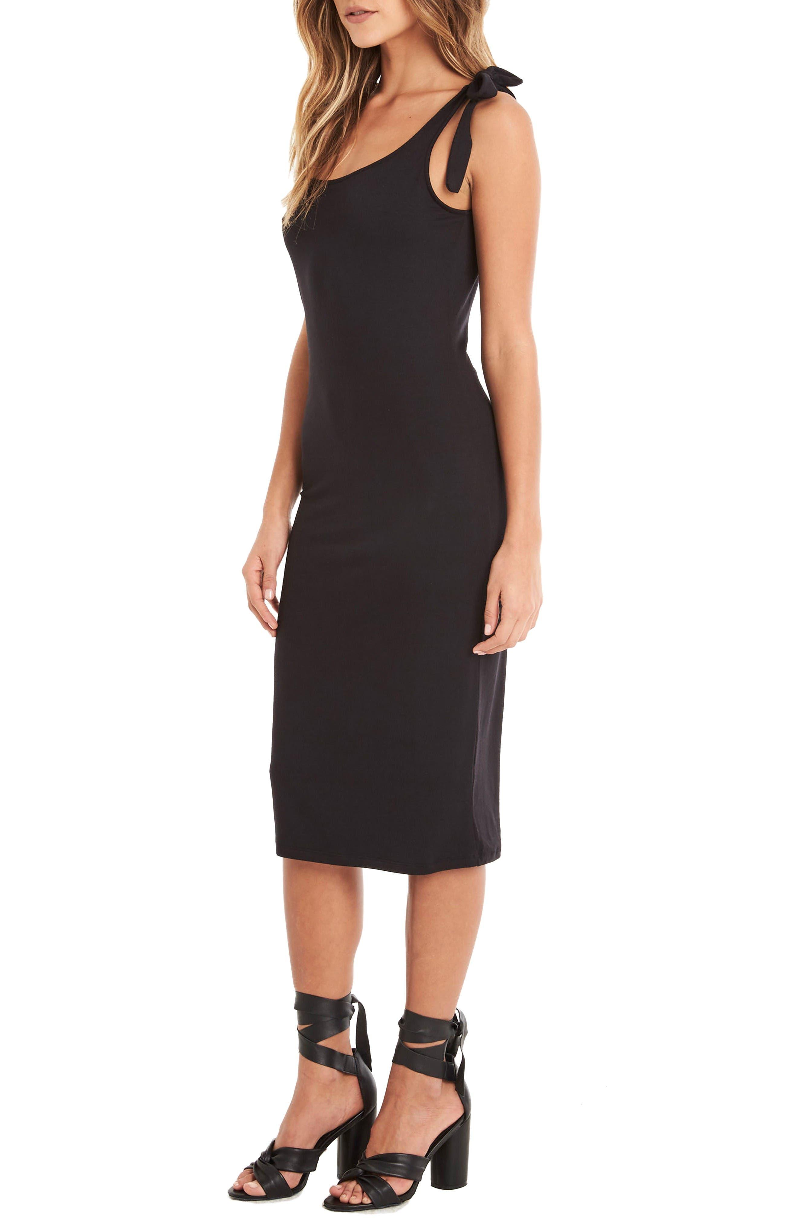 Midi Tank Dress,                             Alternate thumbnail 3, color,                             Black