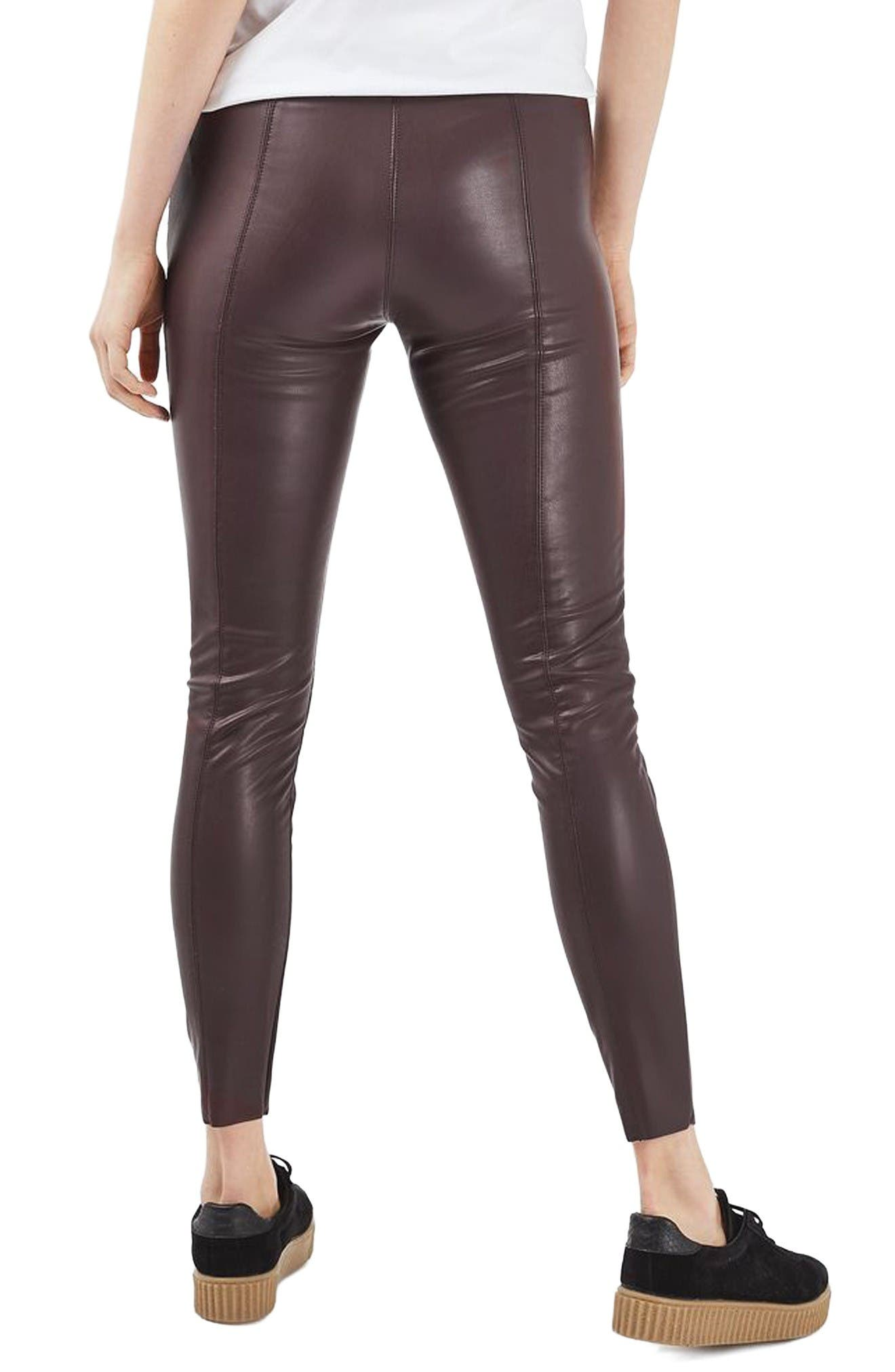Percy Faux Leather Skinny Pants,                             Alternate thumbnail 3, color,                             Burgundy
