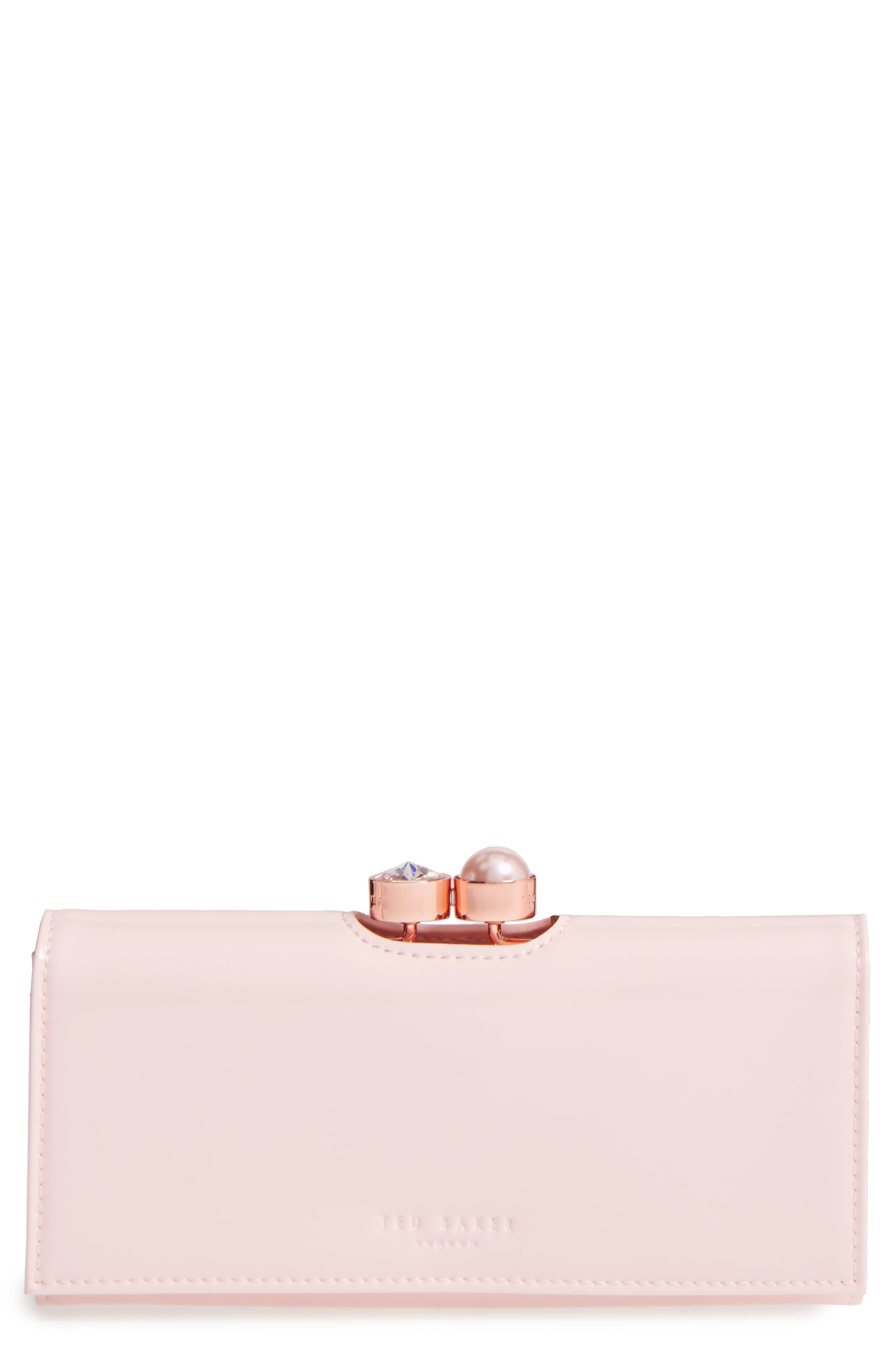 Leather Matinée Wallet,                         Main,                         color, Baby Pink