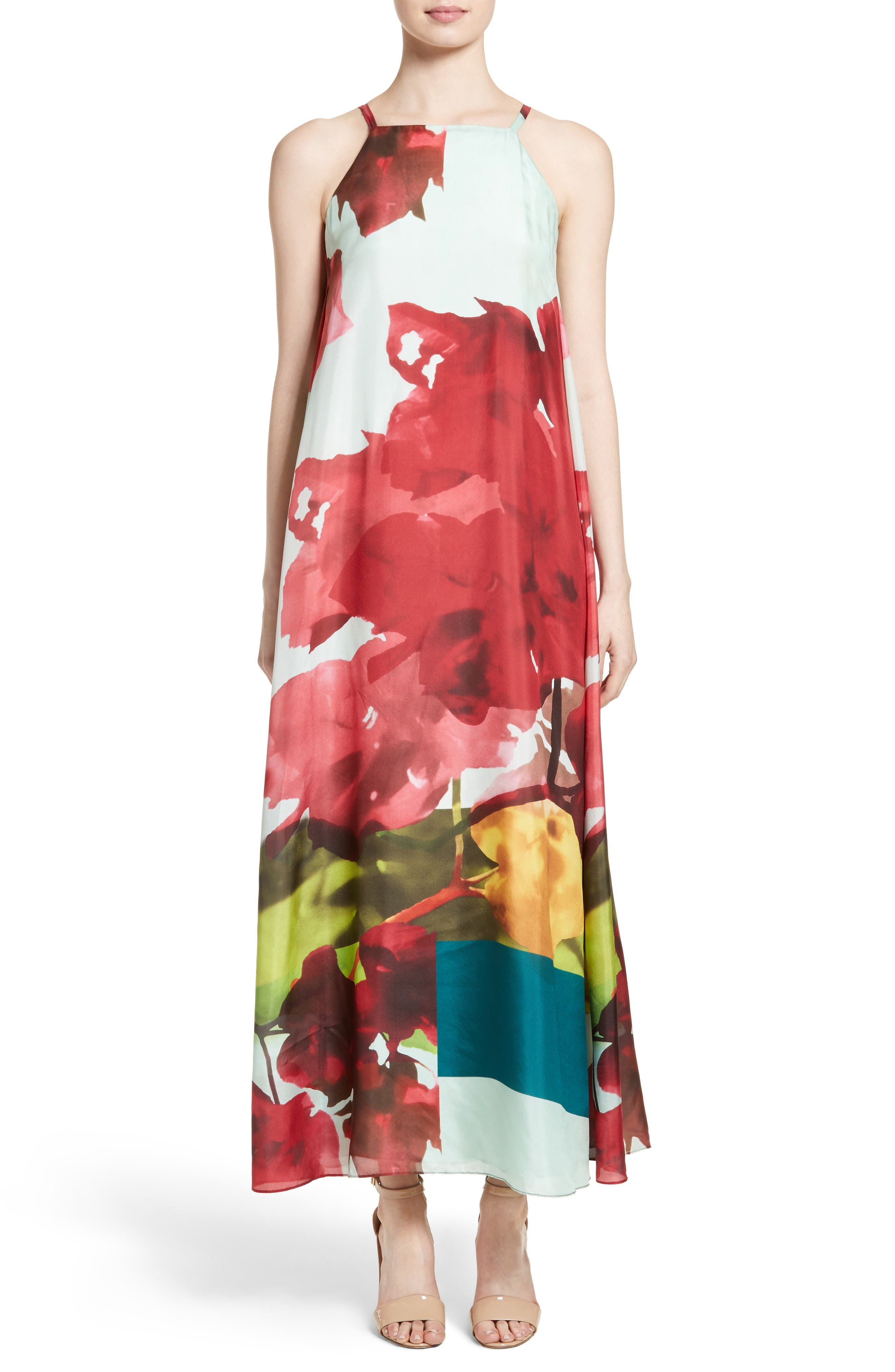 Main Image - Lafayette 148 New York Leonissa Print Silk Maxi Dress