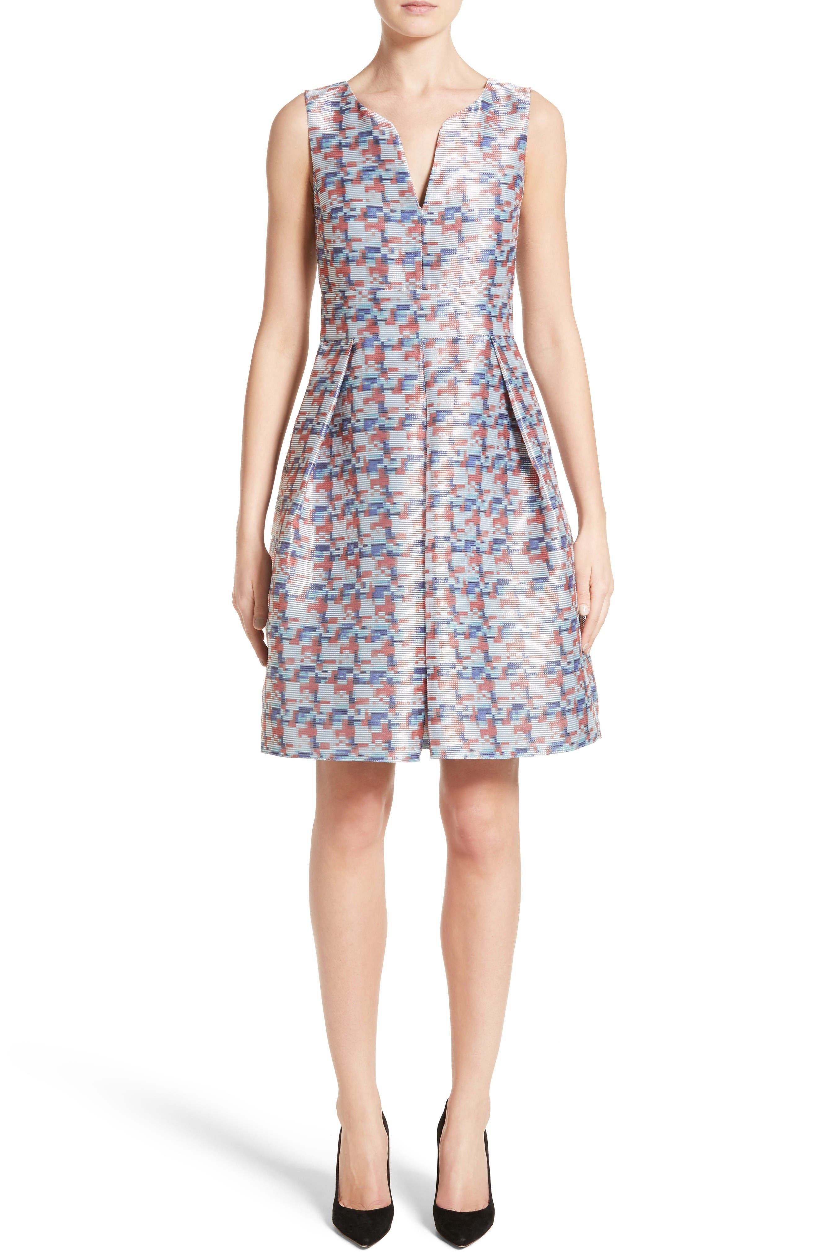 Alternate Image 1 Selected - Armani Collezioni Pixel Print Fit & Flare Dress