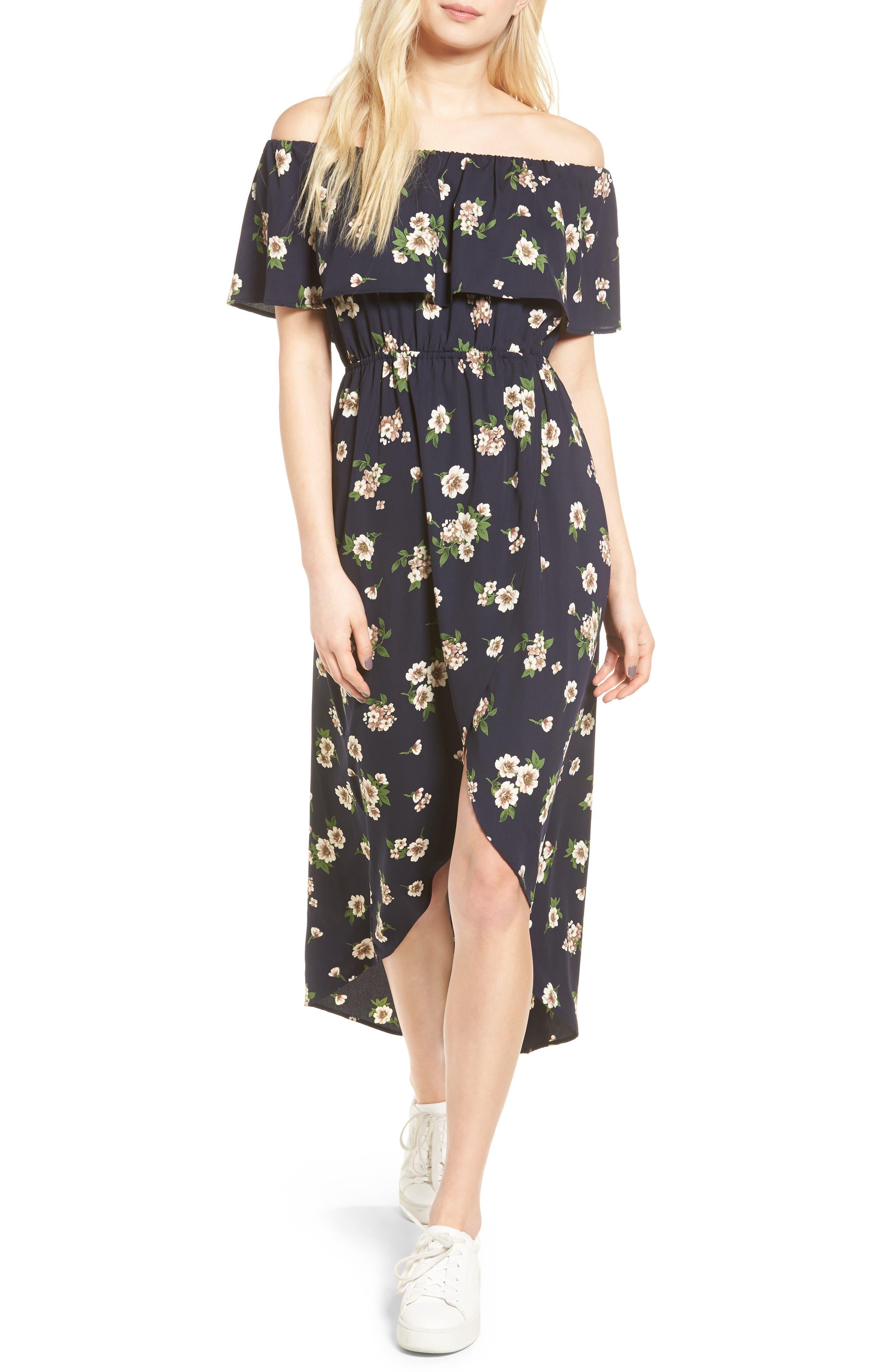 Main Image - Soprano Floral Print Off the Shoulder Dress