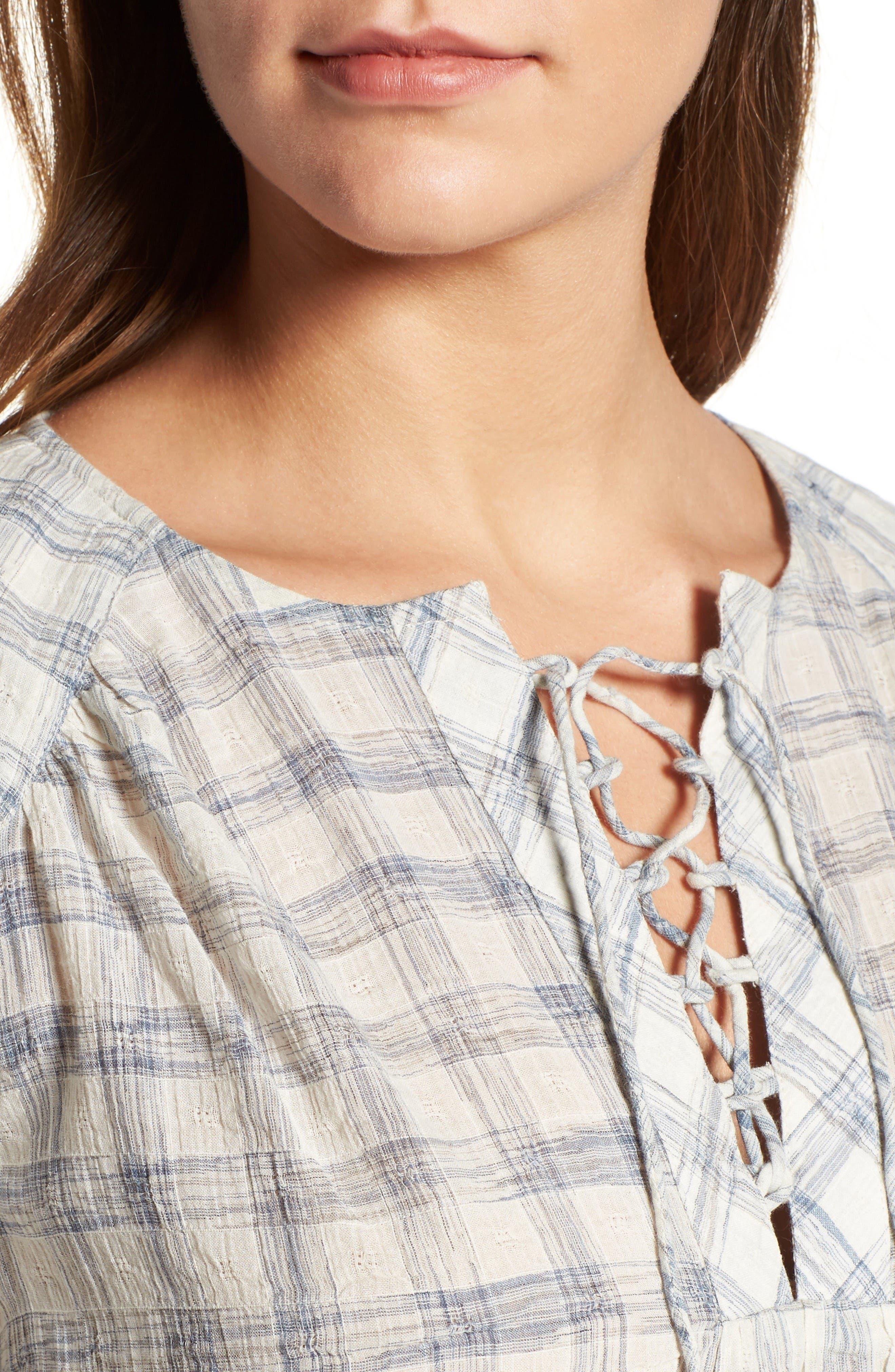 Alternate Image 4  - Caslon® Print Lace-Up Peasant Top