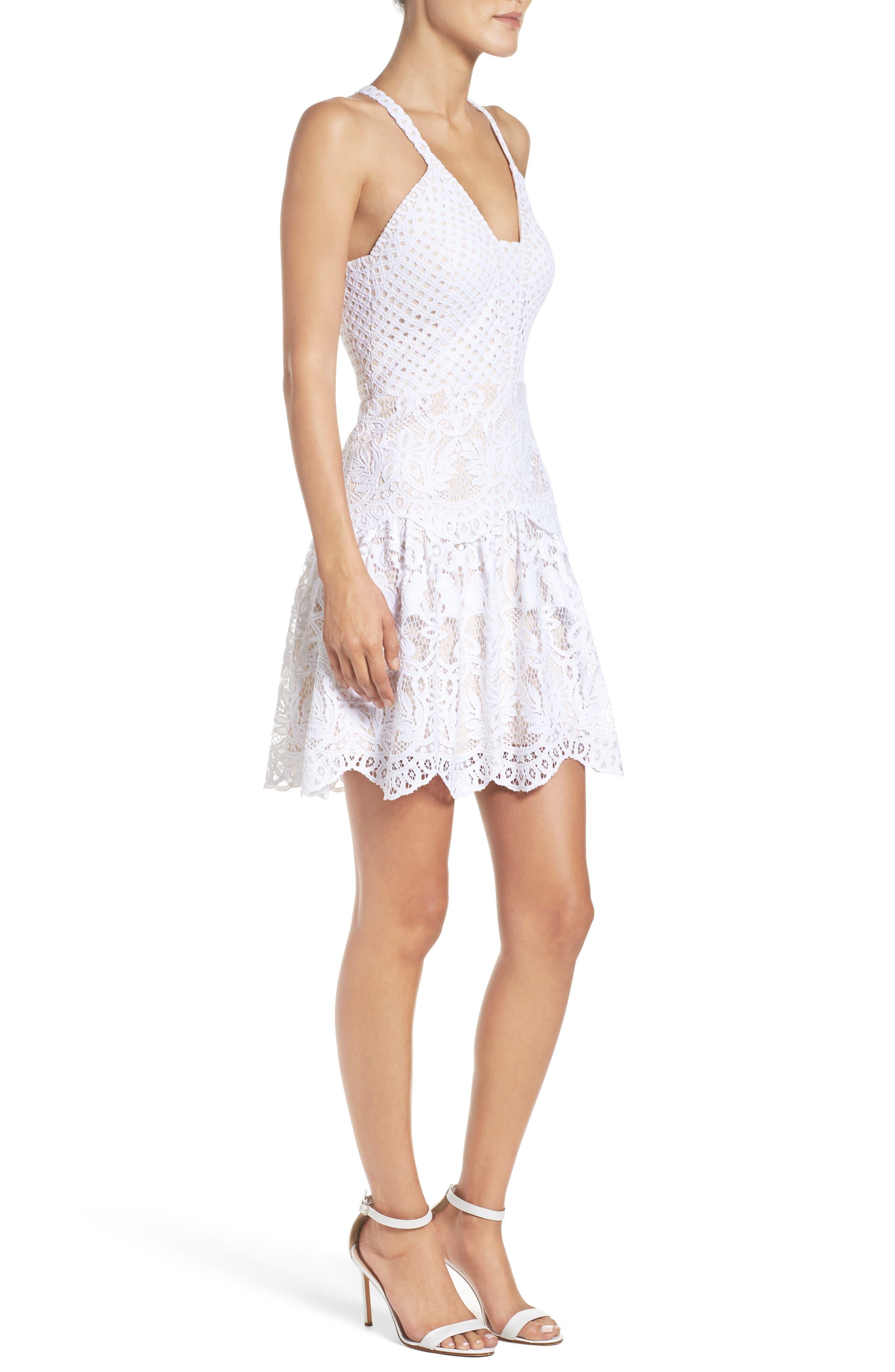 Adella Lace Dress,                             Alternate thumbnail 3, color,                             Resort White