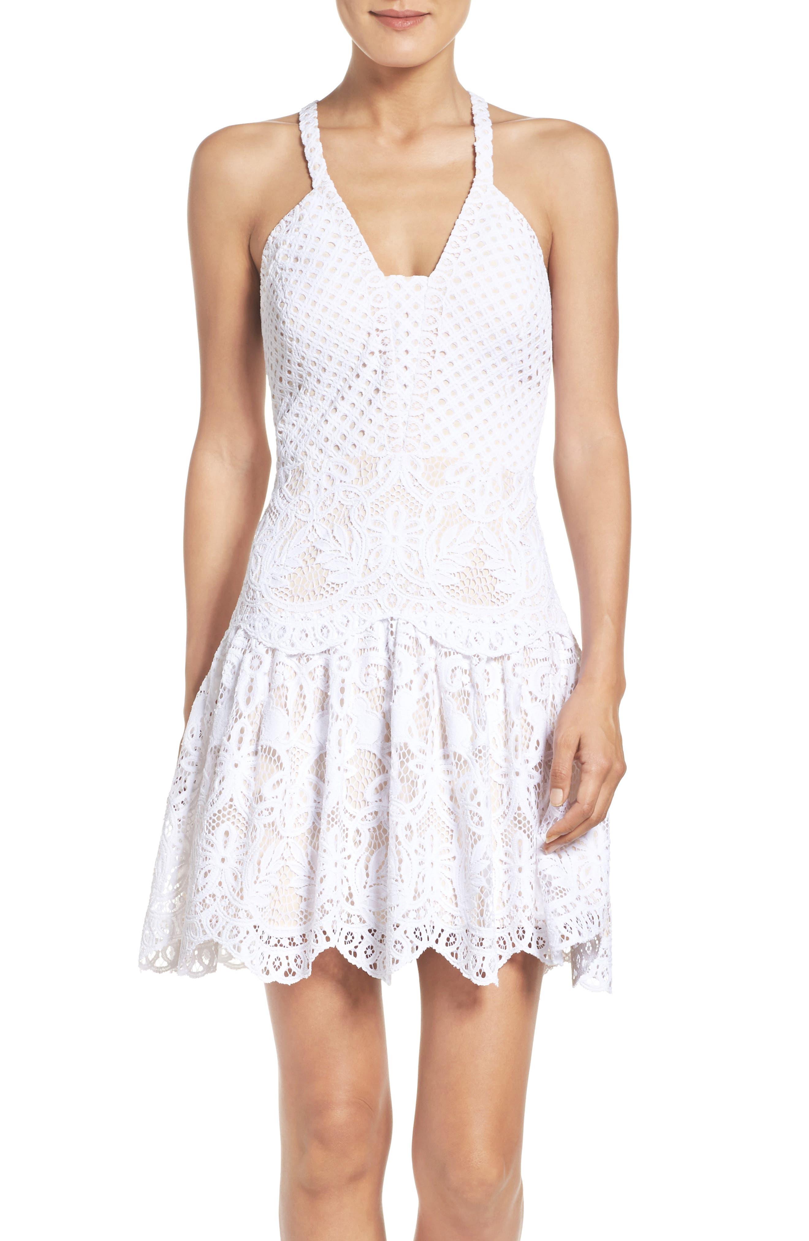 Adella Lace Dress,                             Main thumbnail 1, color,                             Resort White