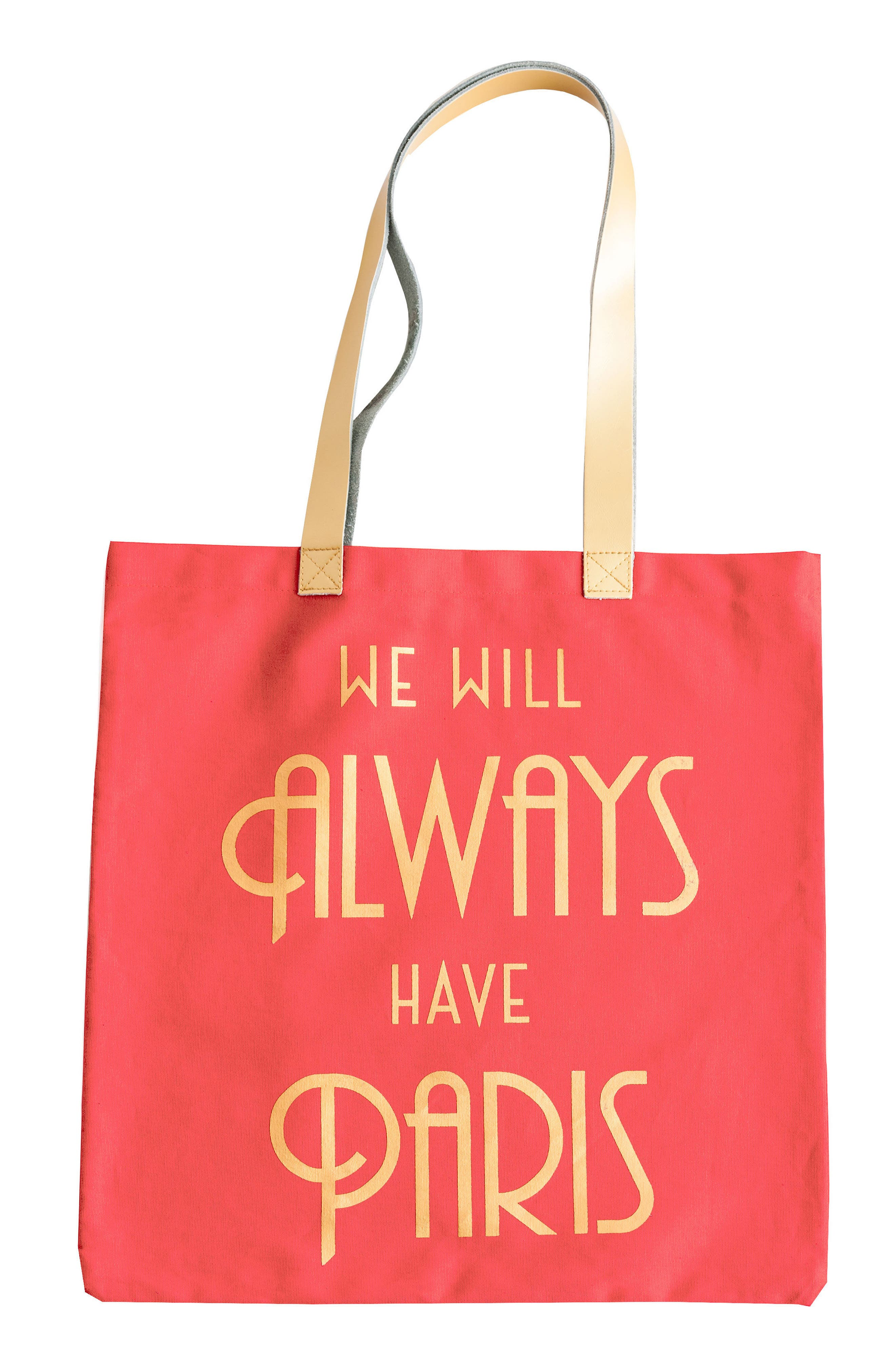 We Will Always Have Paris Canvas Tote,                             Main thumbnail 1, color,                             Coral