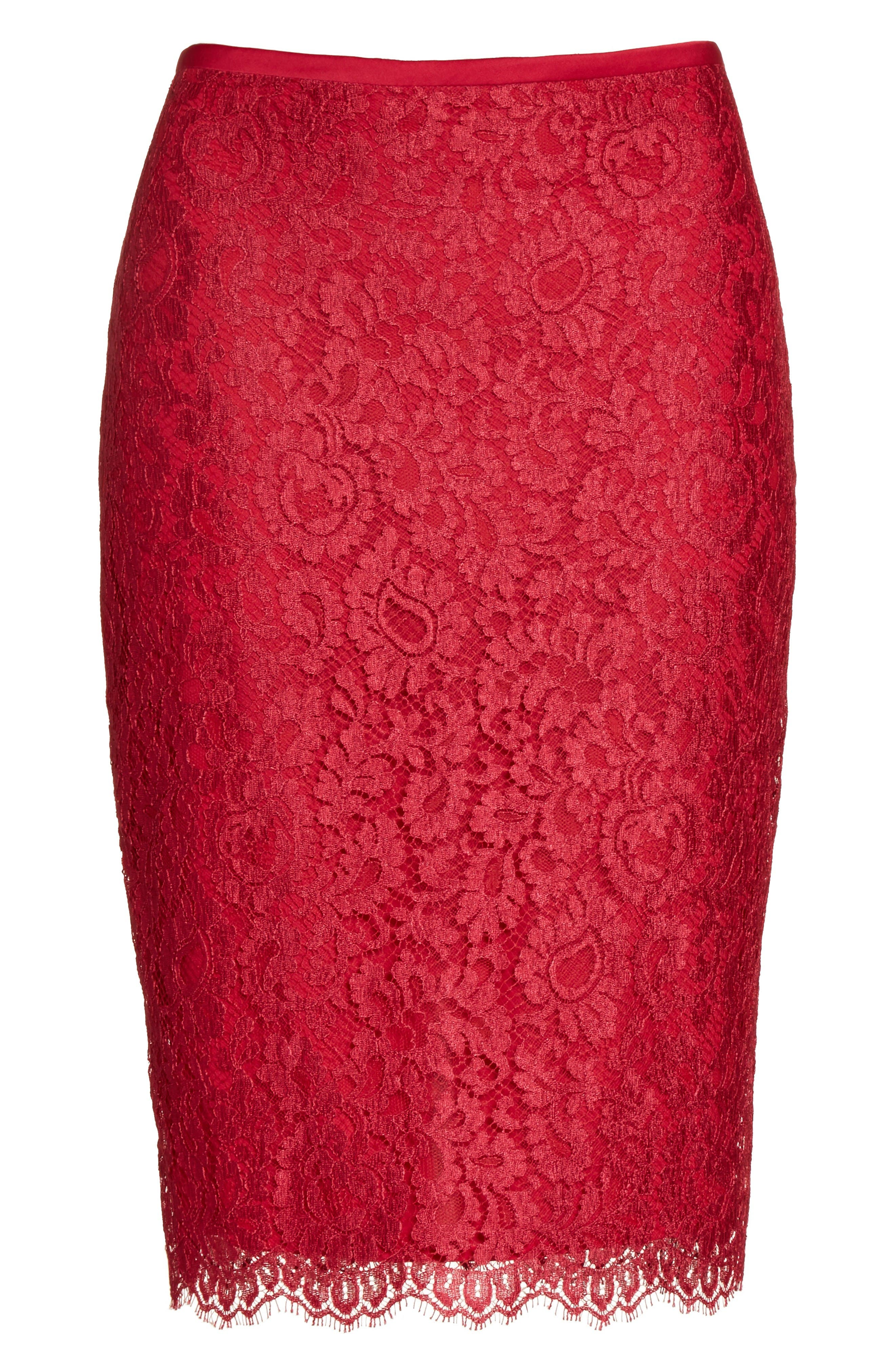 Alternate Image 6  - St. John Collection Double Scallop Paisley Lace Skirt