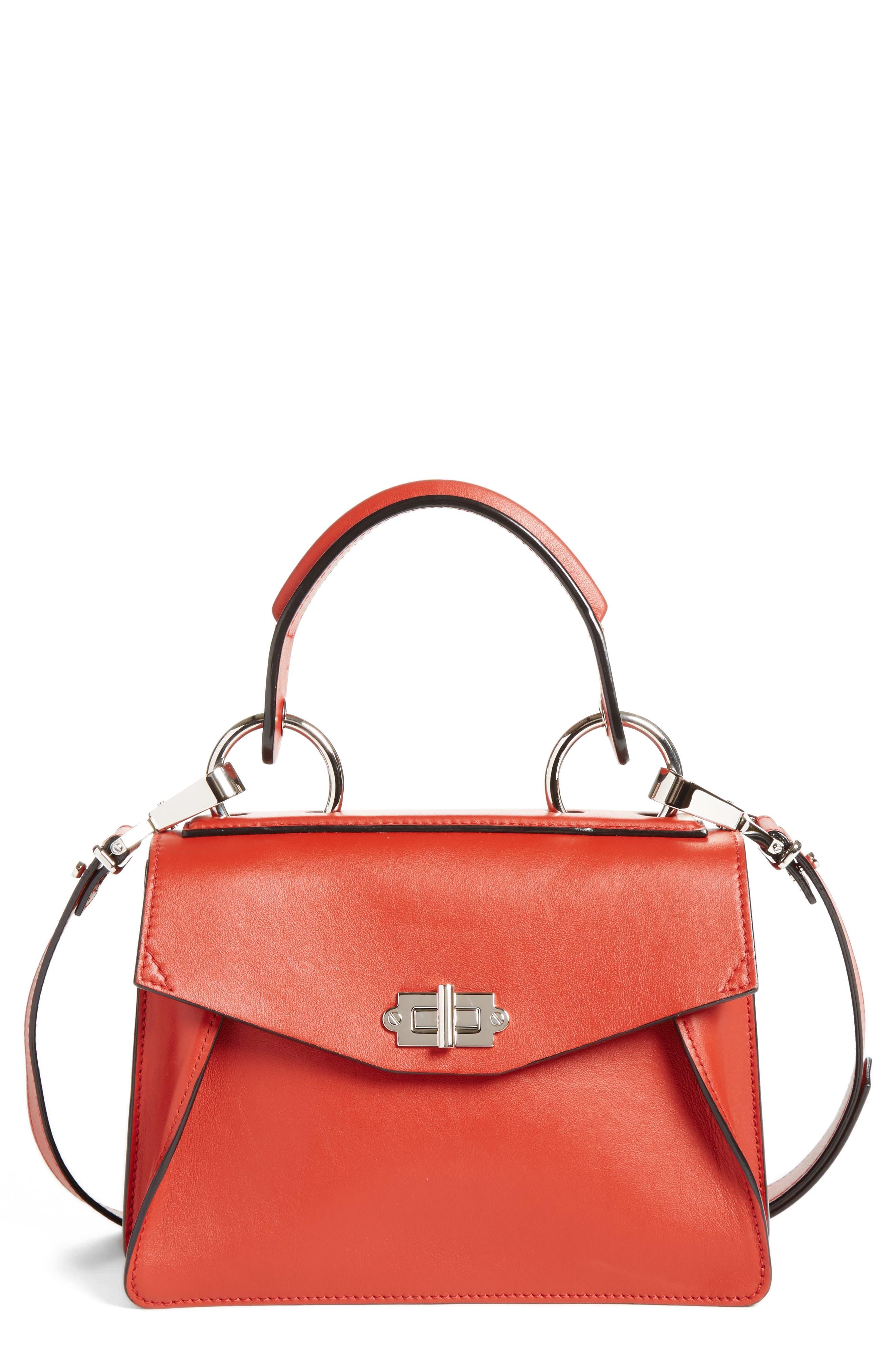 'Small Hava' Top Handle Calfskin Leather Satchel,                             Main thumbnail 1, color,                             Brick