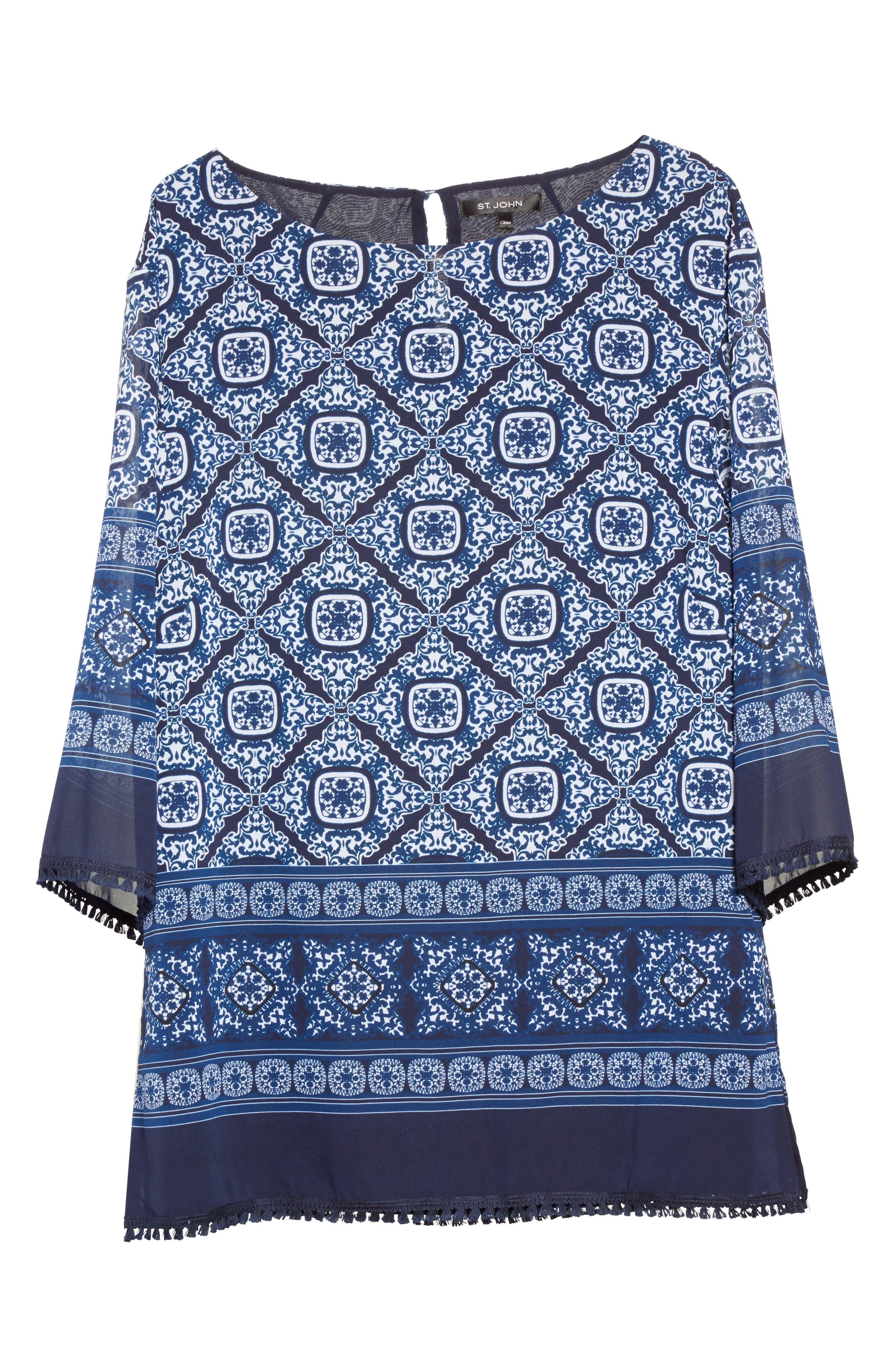 Alternate Image 6  - St. John Collection Jaipur Tile Print Stretch Silk Blouse