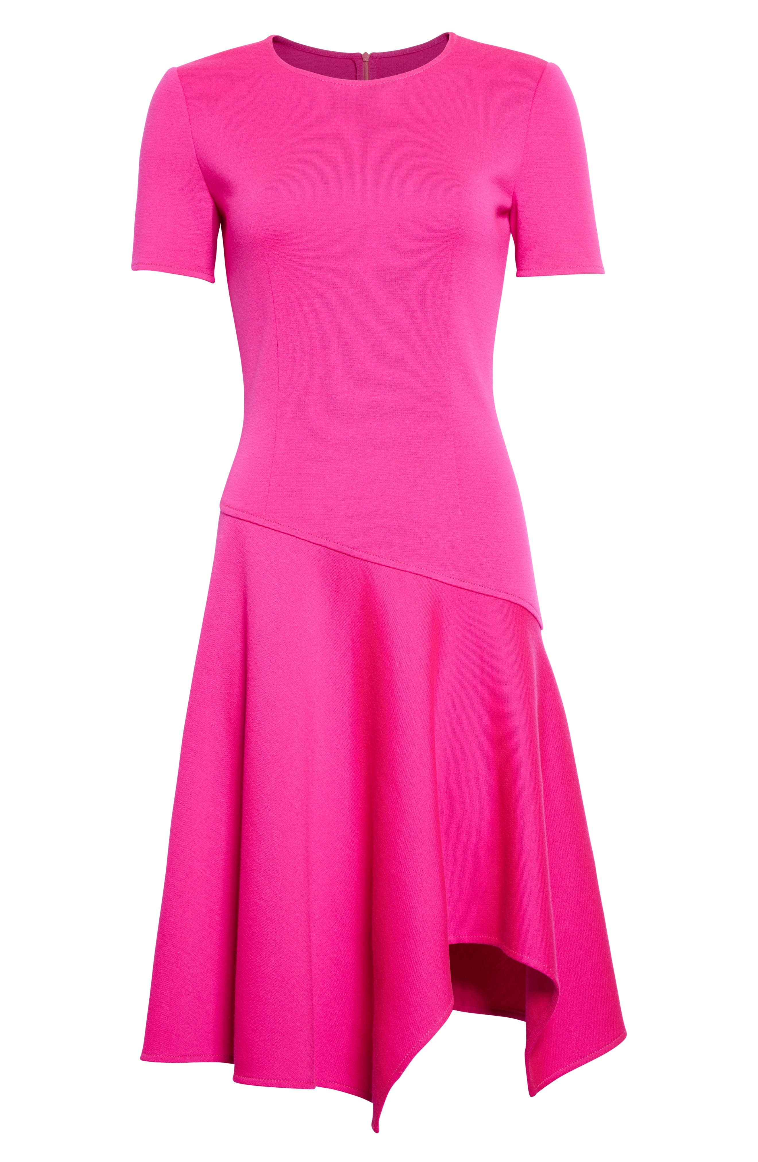 Milano Knit Asymmetrical Dress,                             Alternate thumbnail 7, color,                             Zinnia