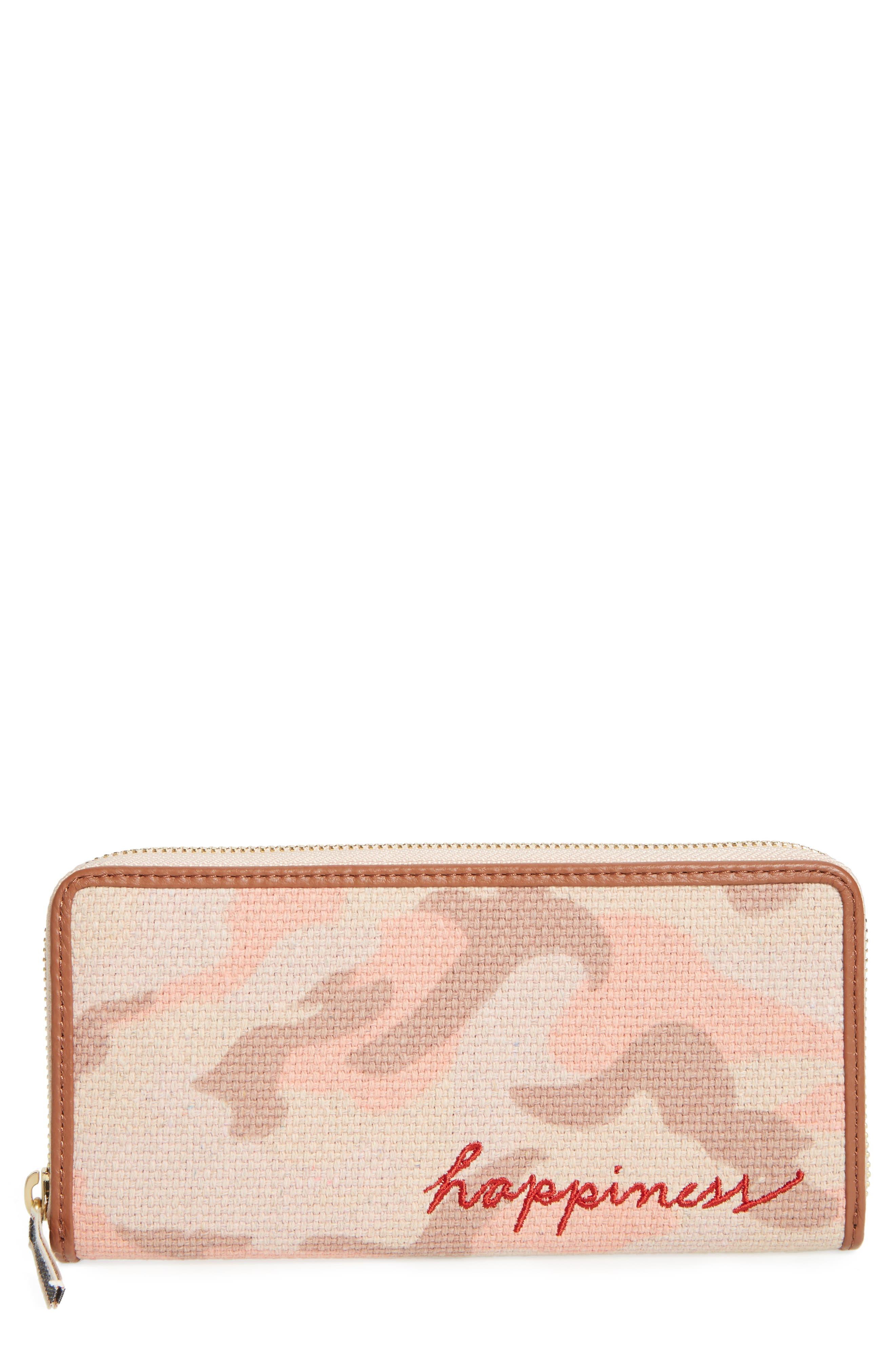 Darien Continental Wallet,                         Main,                         color, Blush/ Dark Umber