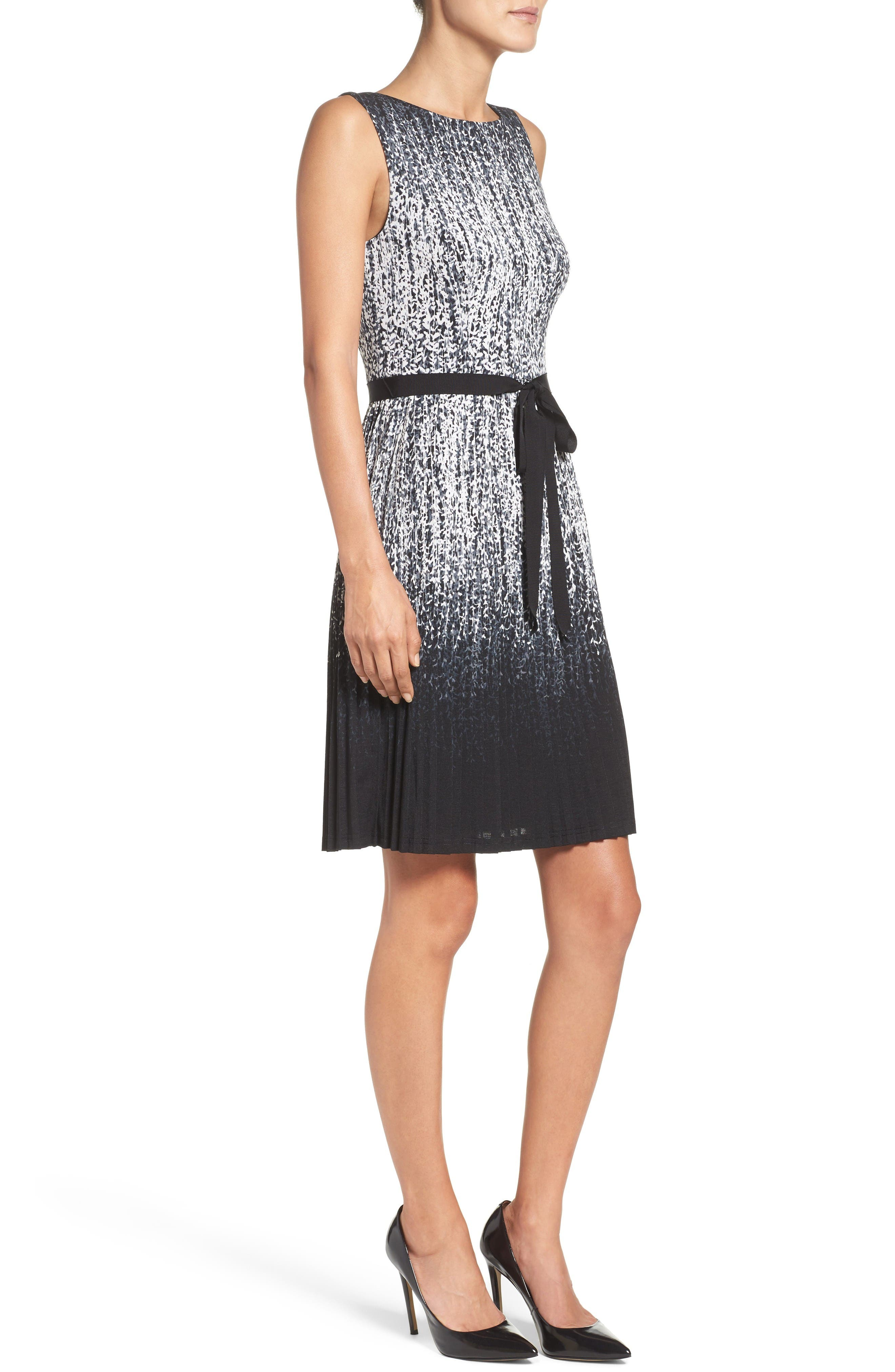 Pleat Fit & Flare Dress,                             Alternate thumbnail 3, color,                             Black/ Ivory
