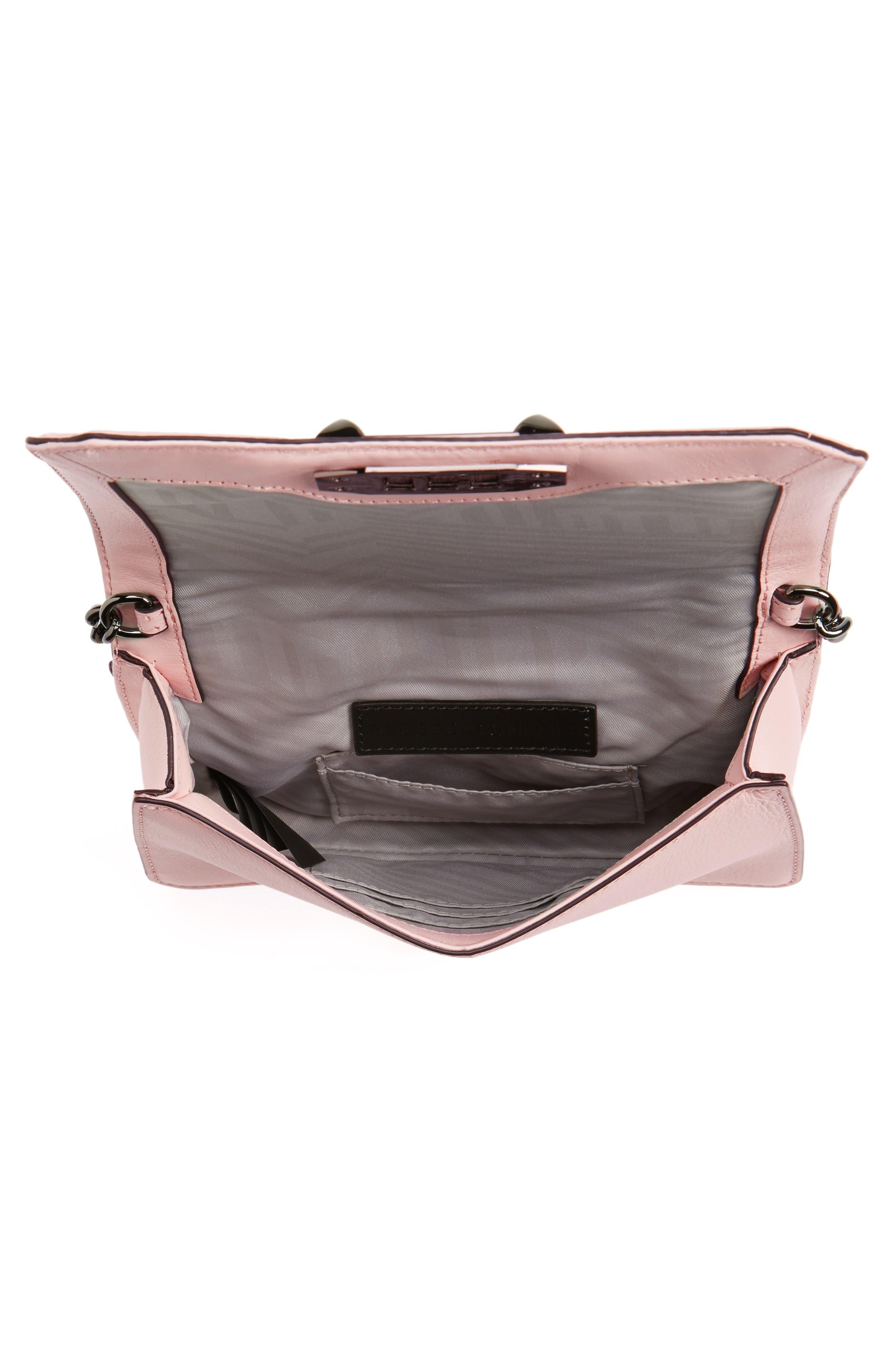 Small Love Leather Crossbody Bag,                             Alternate thumbnail 4, color,                             Soft Blush/ Gunmetal