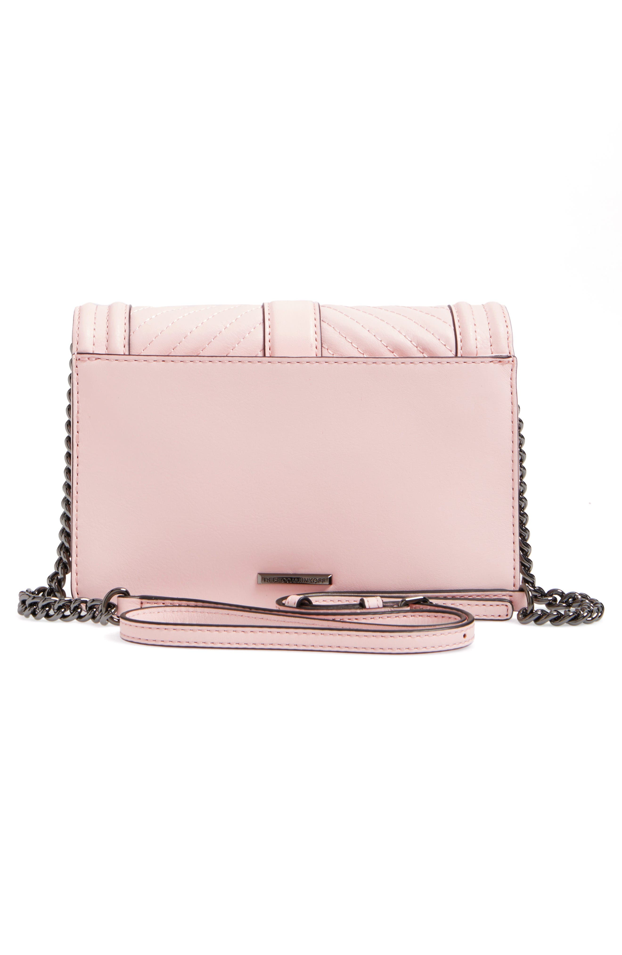 Small Love Leather Crossbody Bag,                             Alternate thumbnail 3, color,                             Soft Blush/ Gunmetal