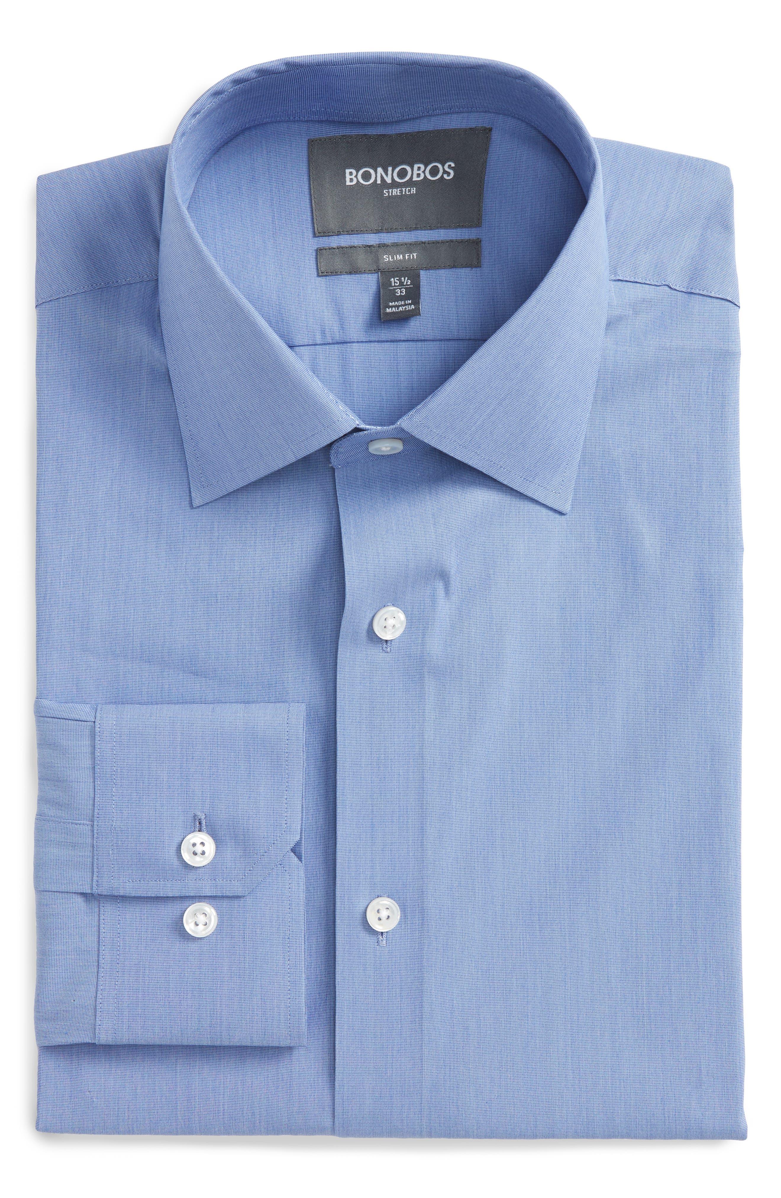 Jetsetter Slim Fit Solid Dress Shirt,                             Main thumbnail 1, color,                             Navy