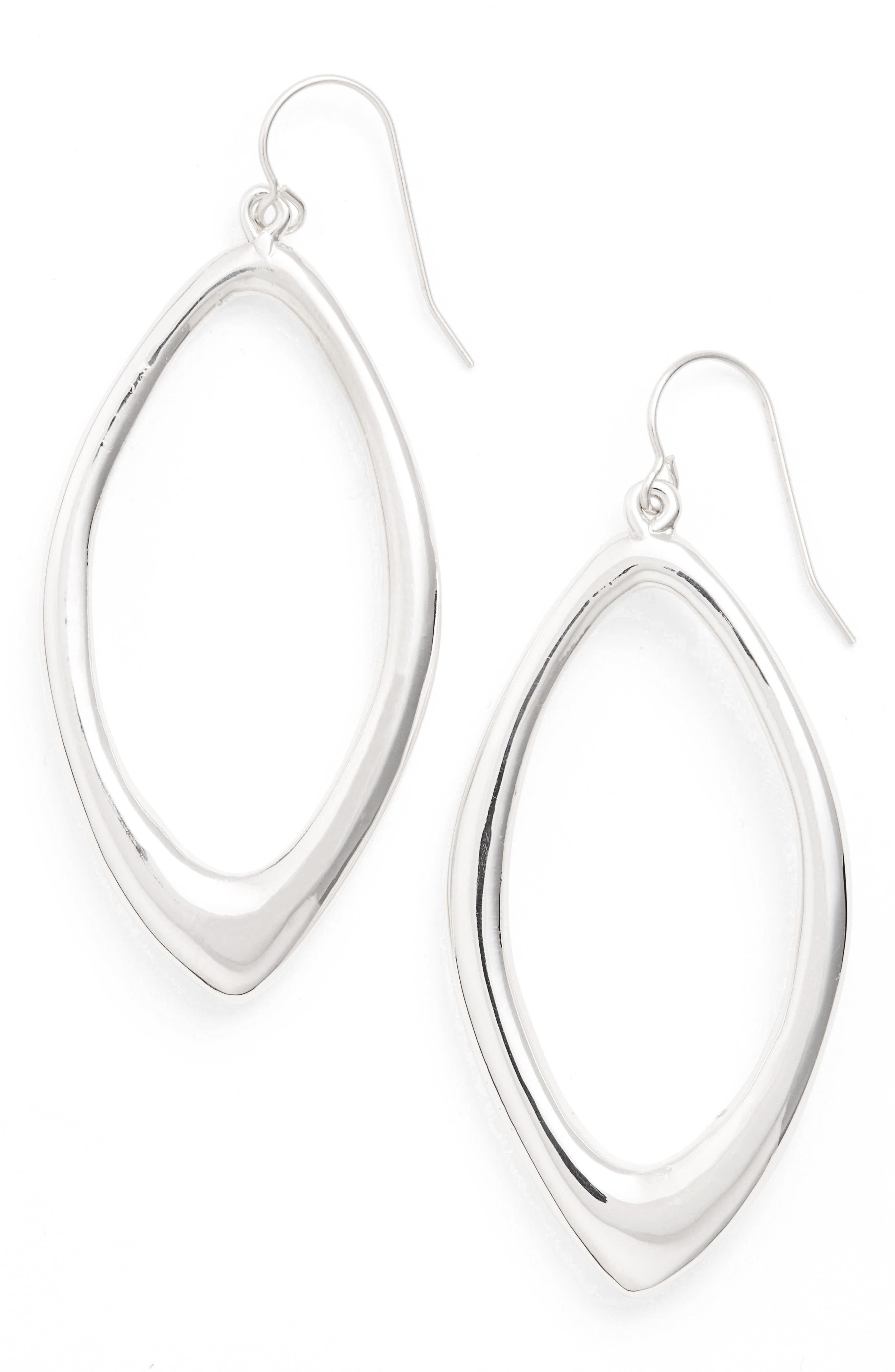 Open Abstract Drop Earrings,                         Main,                         color, Silver