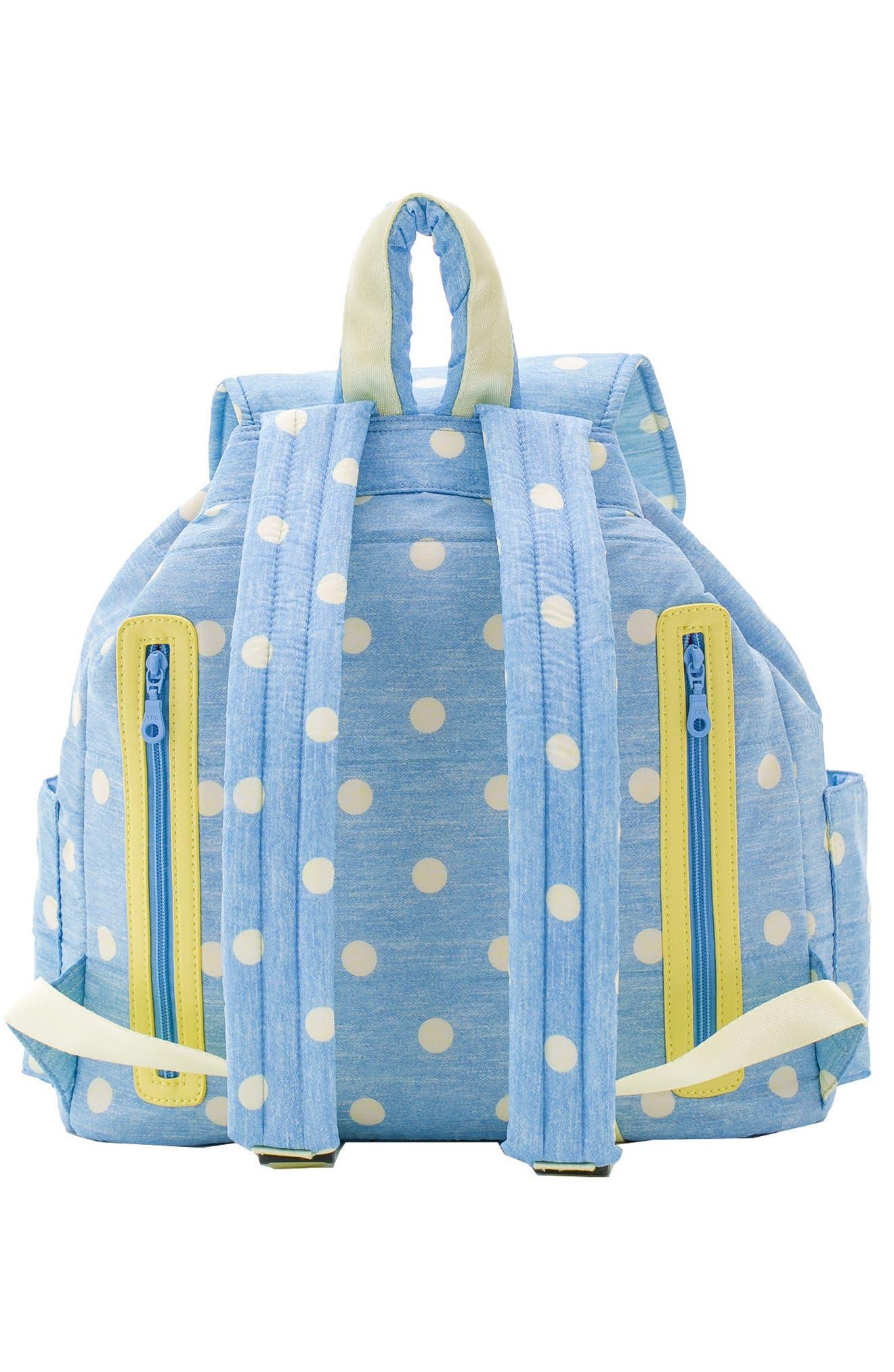 Print Water-Repellent Diaper Backpack,                             Alternate thumbnail 2, color,                             Denim Yellow Dot
