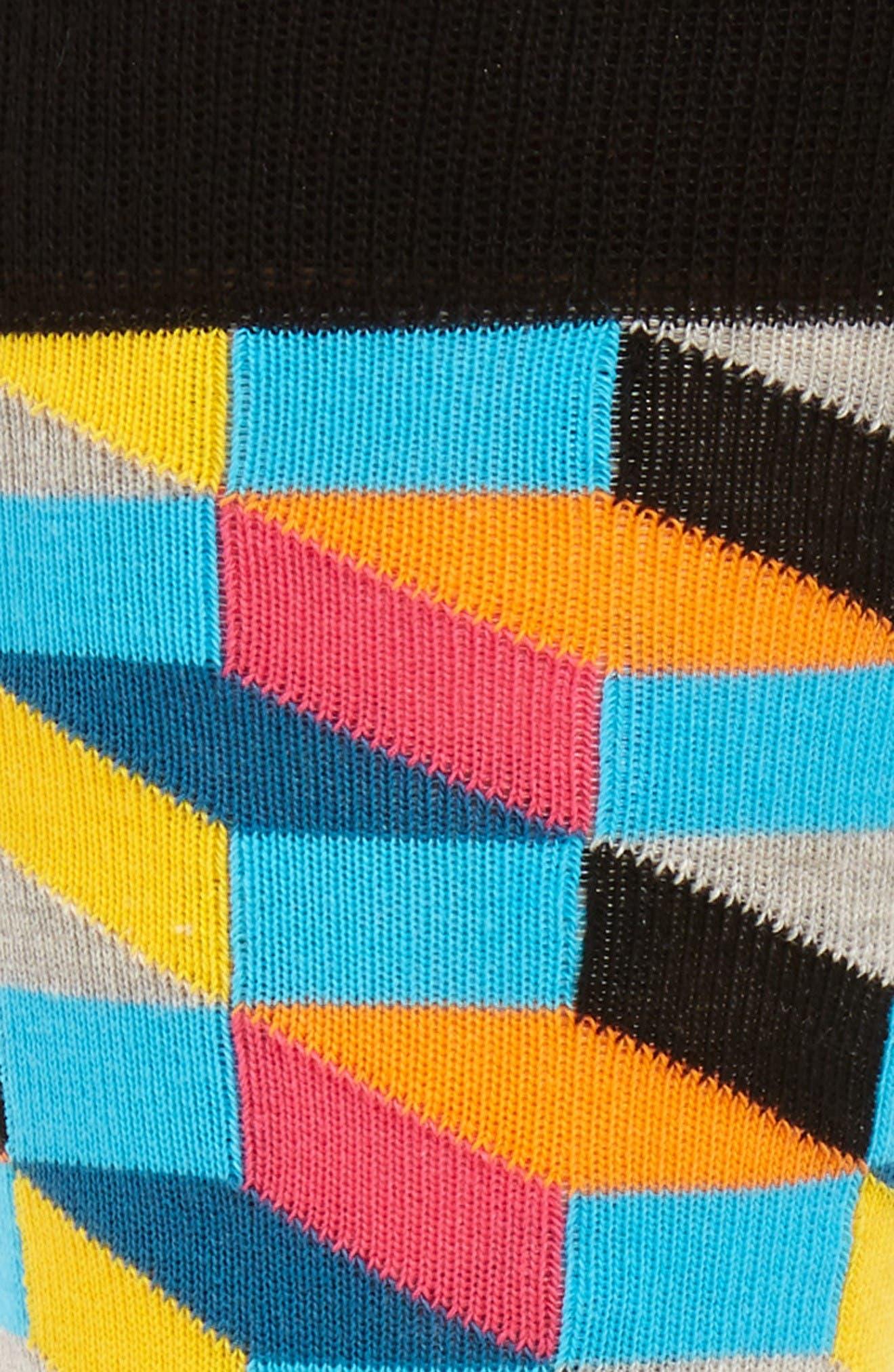 Geometric Cotton Blend Socks,                             Alternate thumbnail 2, color,                             Blue/ Yellow