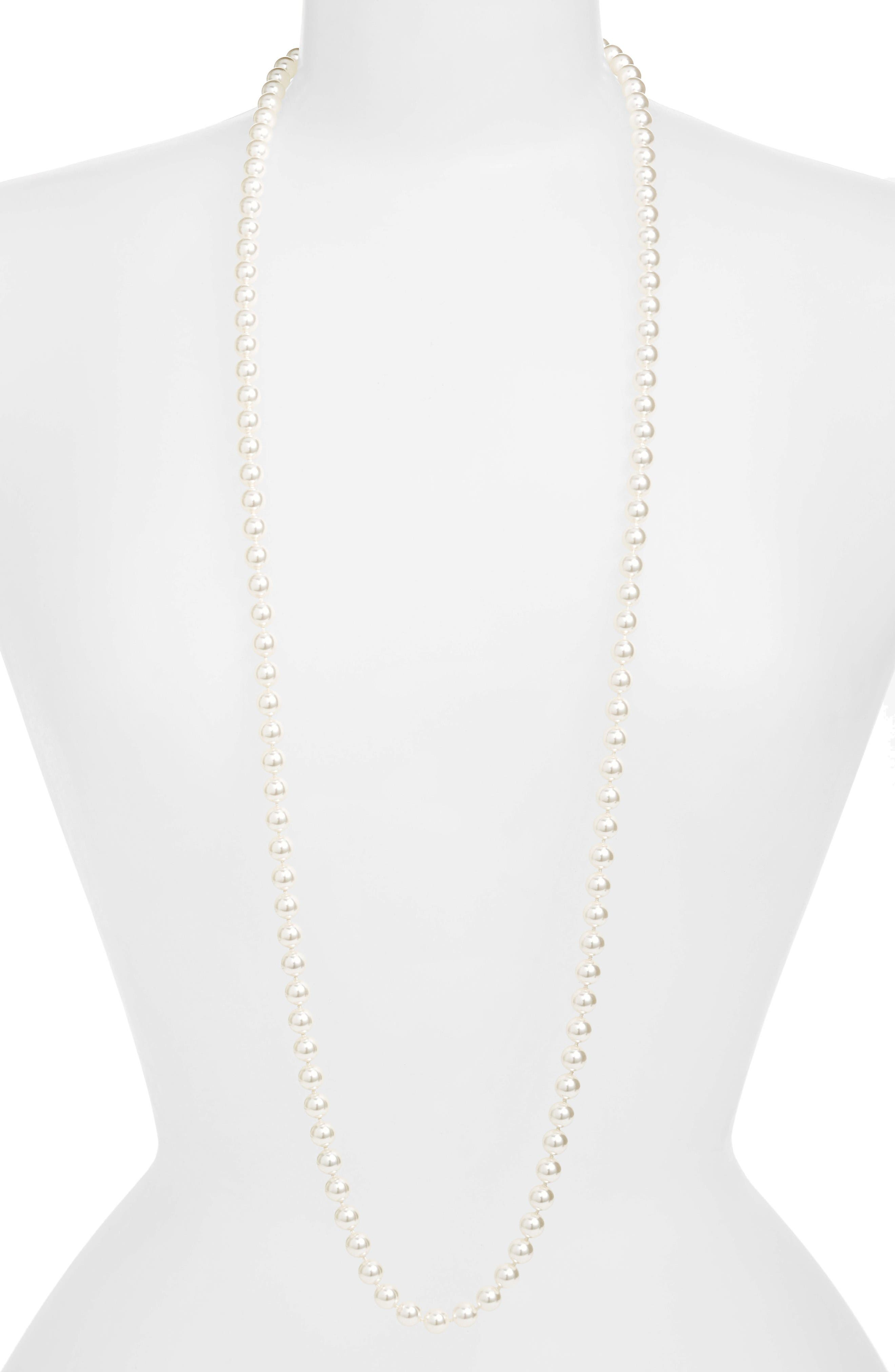 42-Inch Glass Pearl Strand Rope Necklace,                         Main,                         color, White Pearl