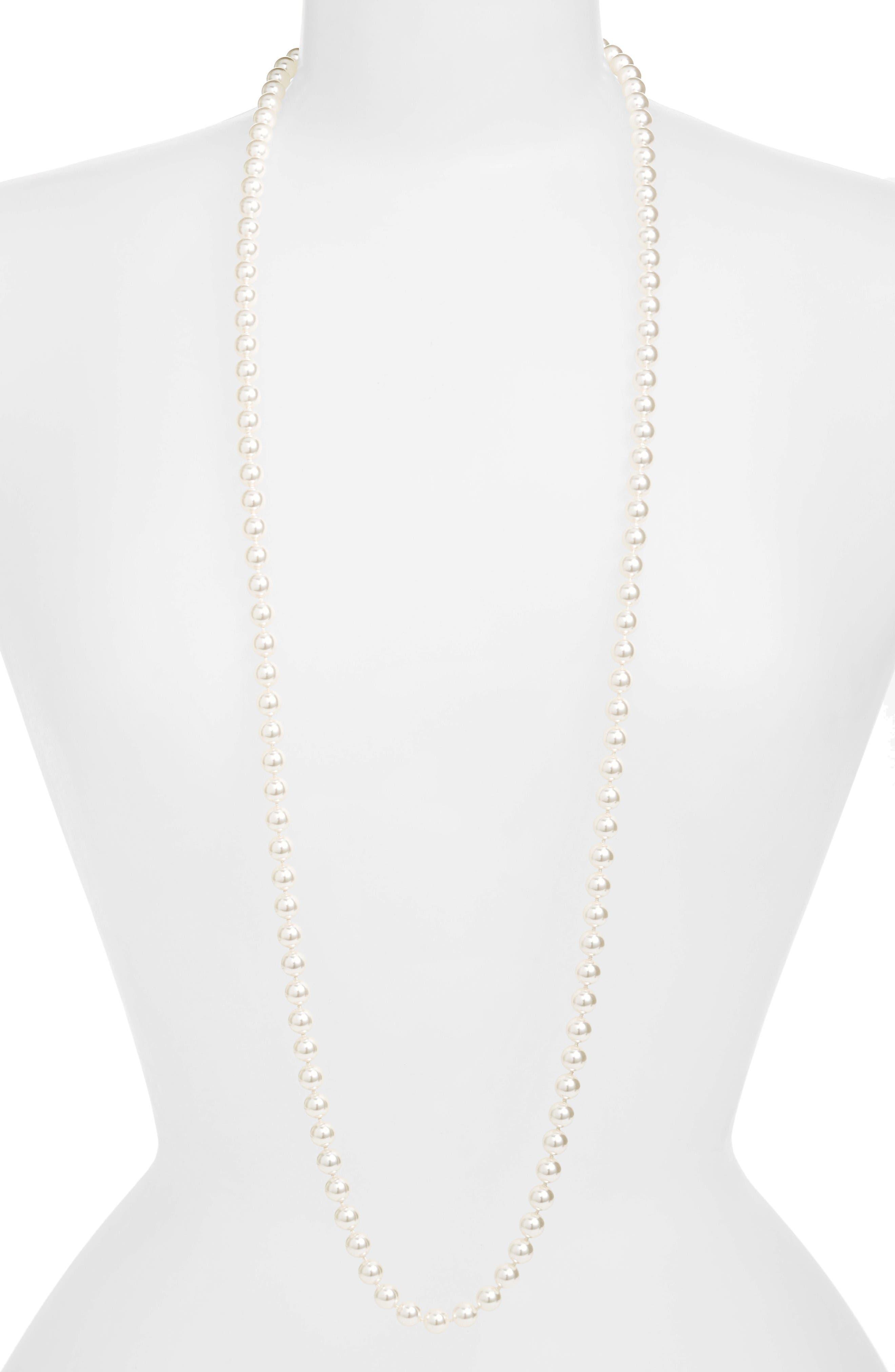 Nadri 42-Inch Glass Pearl Strand Rope Necklace