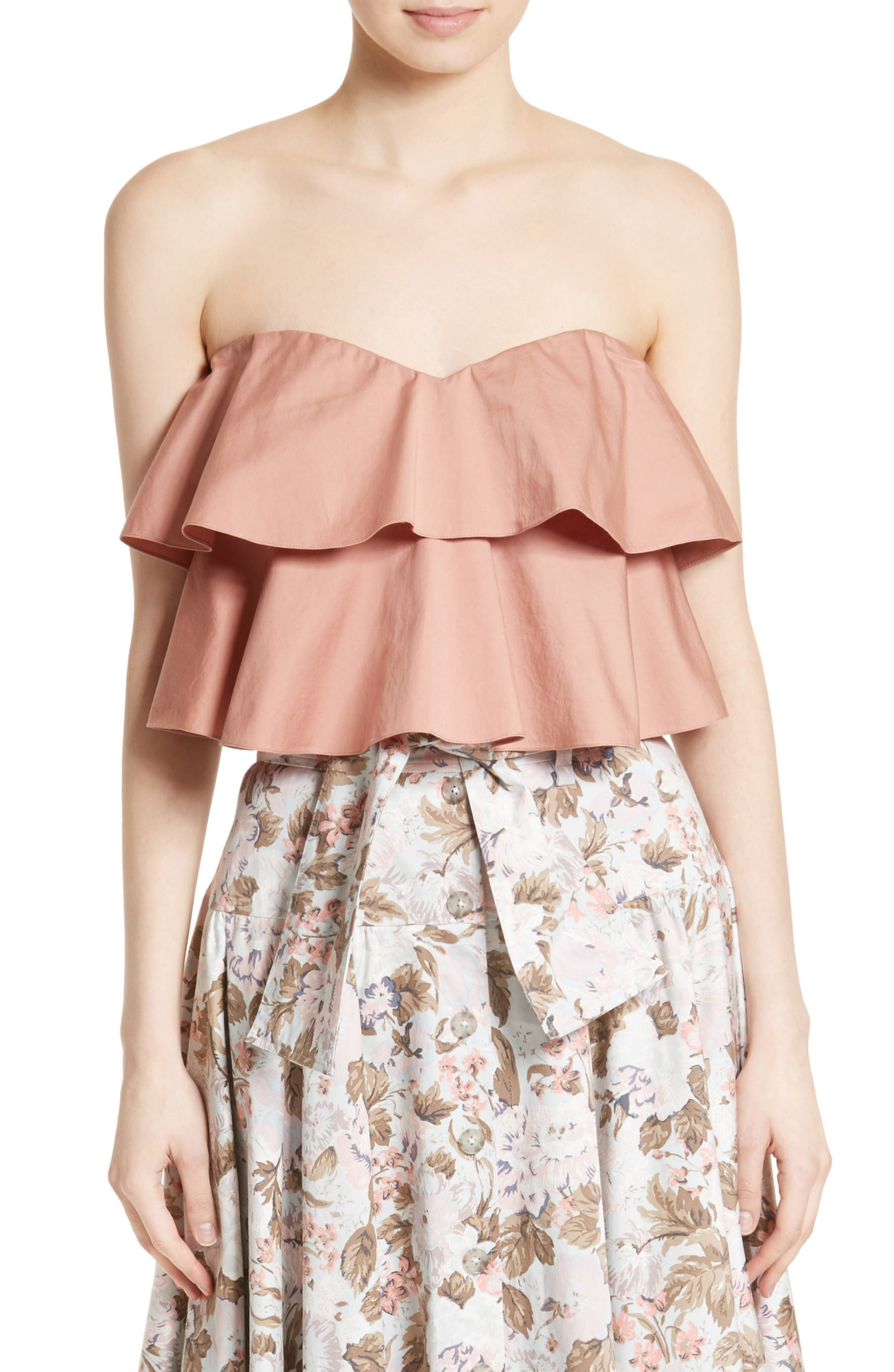 Alternate Image 1 Selected - Rebecca Taylor Strapless Crop Top