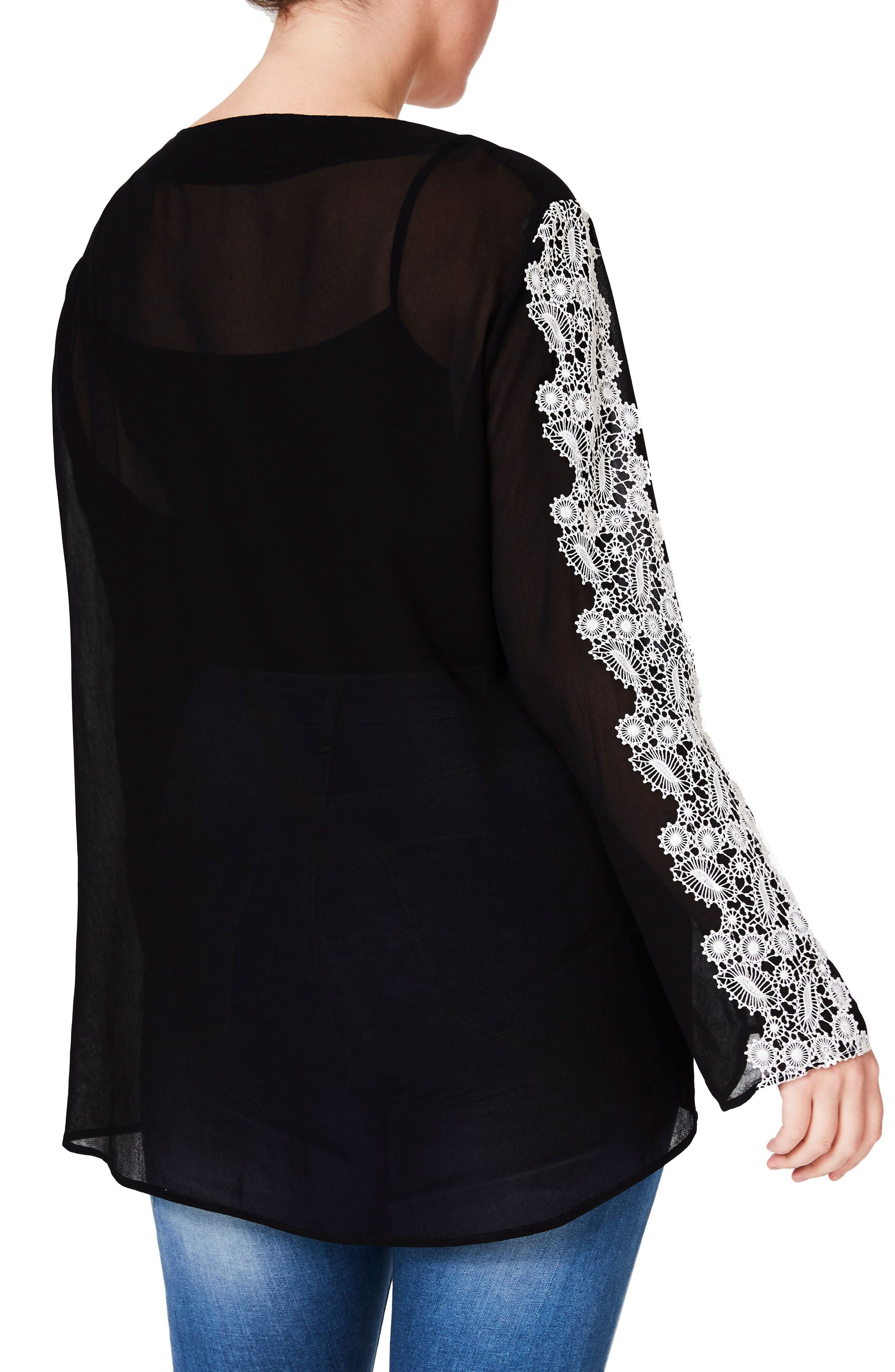 Embroidered Sleeve Blouse,                             Alternate thumbnail 3, color,                             Black